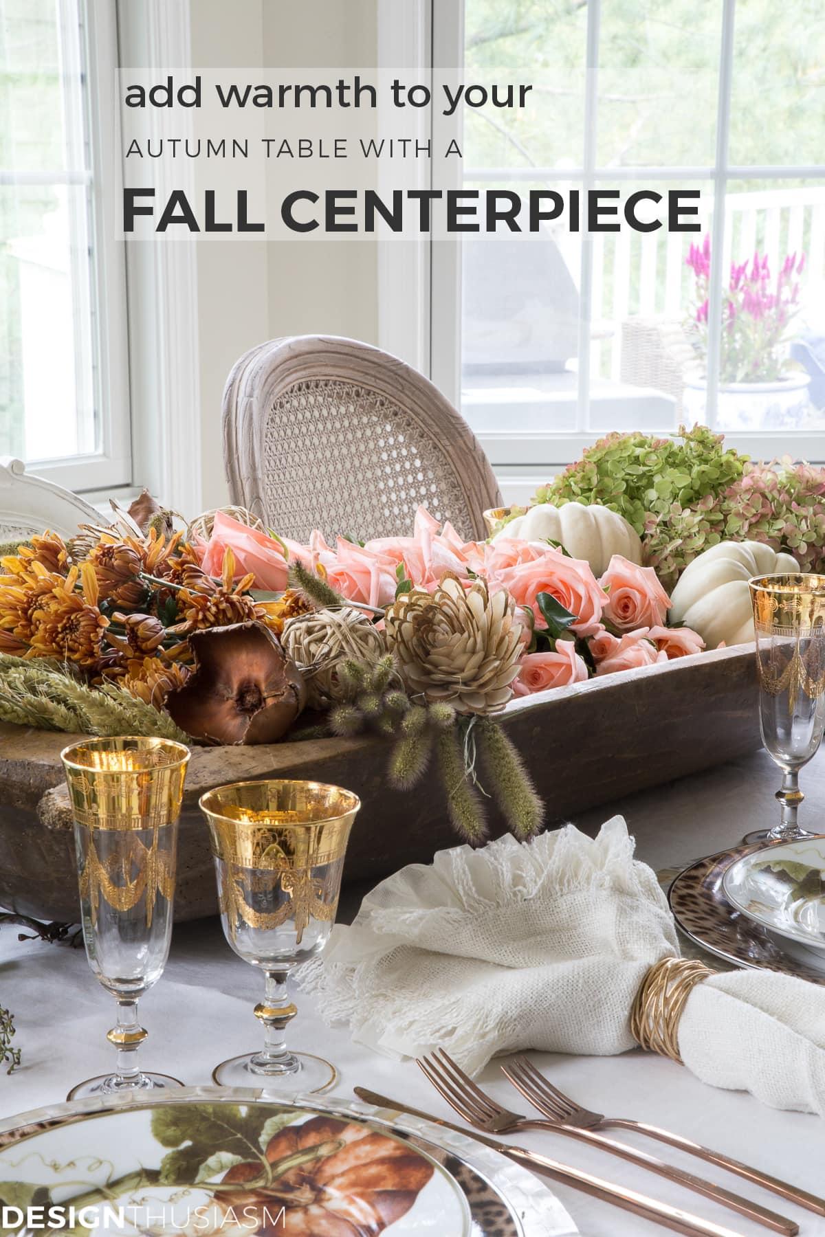 Thanksgiving tablescape with a dough bowl centerpiece