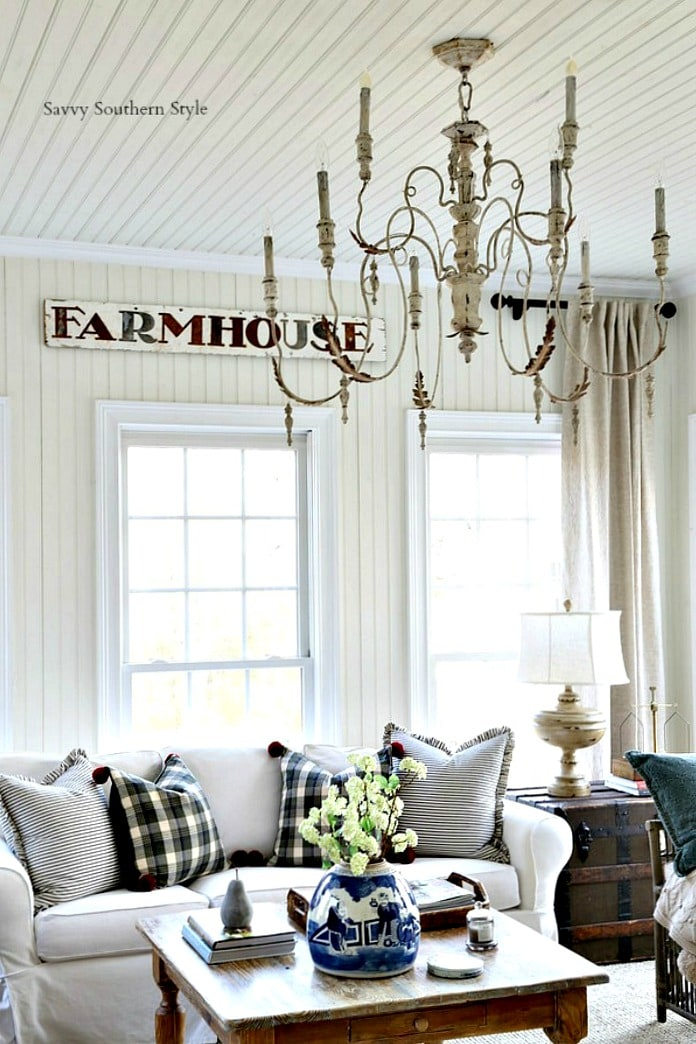 French farmhouse winter style sun room savvysouthernstyle.net