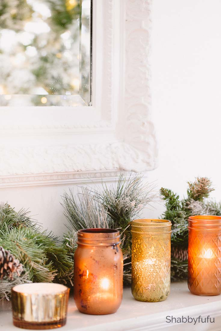 copper and gold mason jars