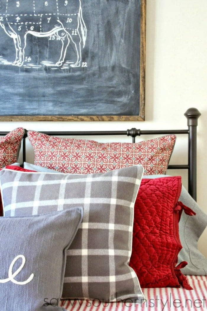red and gray farmhouse style Christmas bedroom