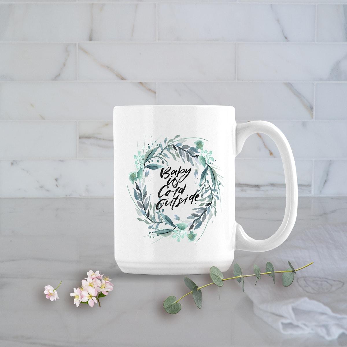 Posh Cottage Shop Winter 19 Baby It's Cold white 15oz mug
