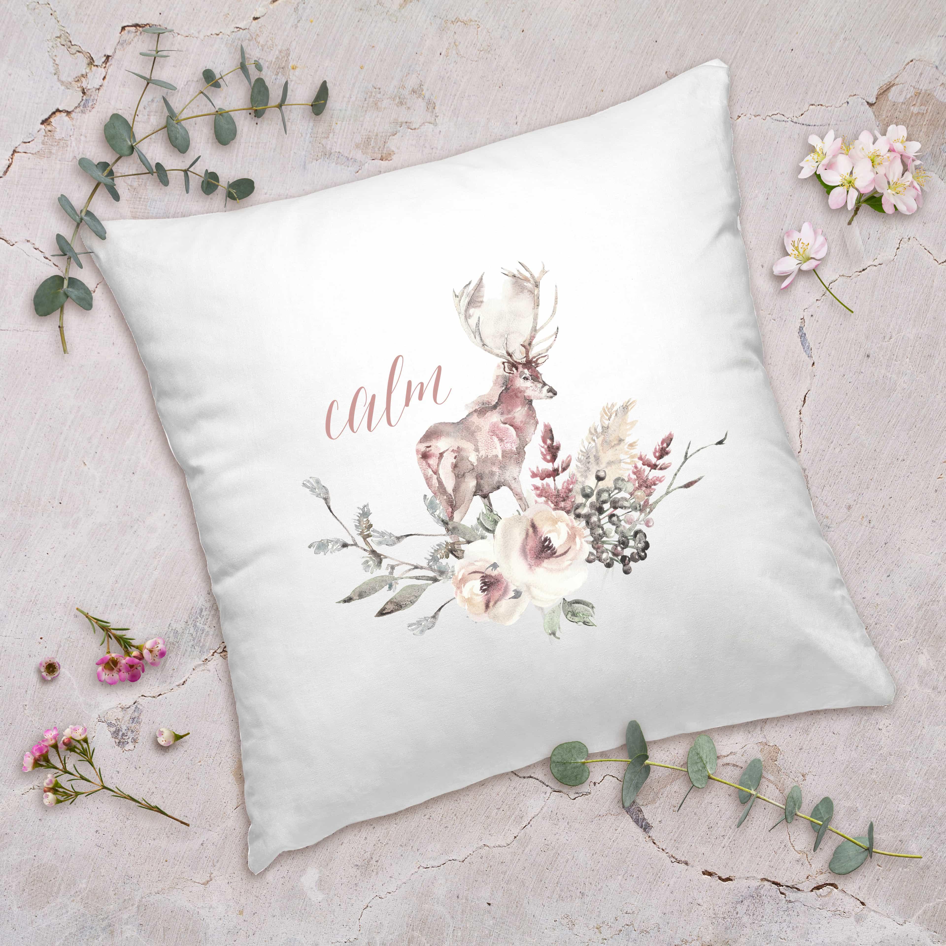 Posh Cottage Shop Winter 19 Calm Stag 18in white pillow