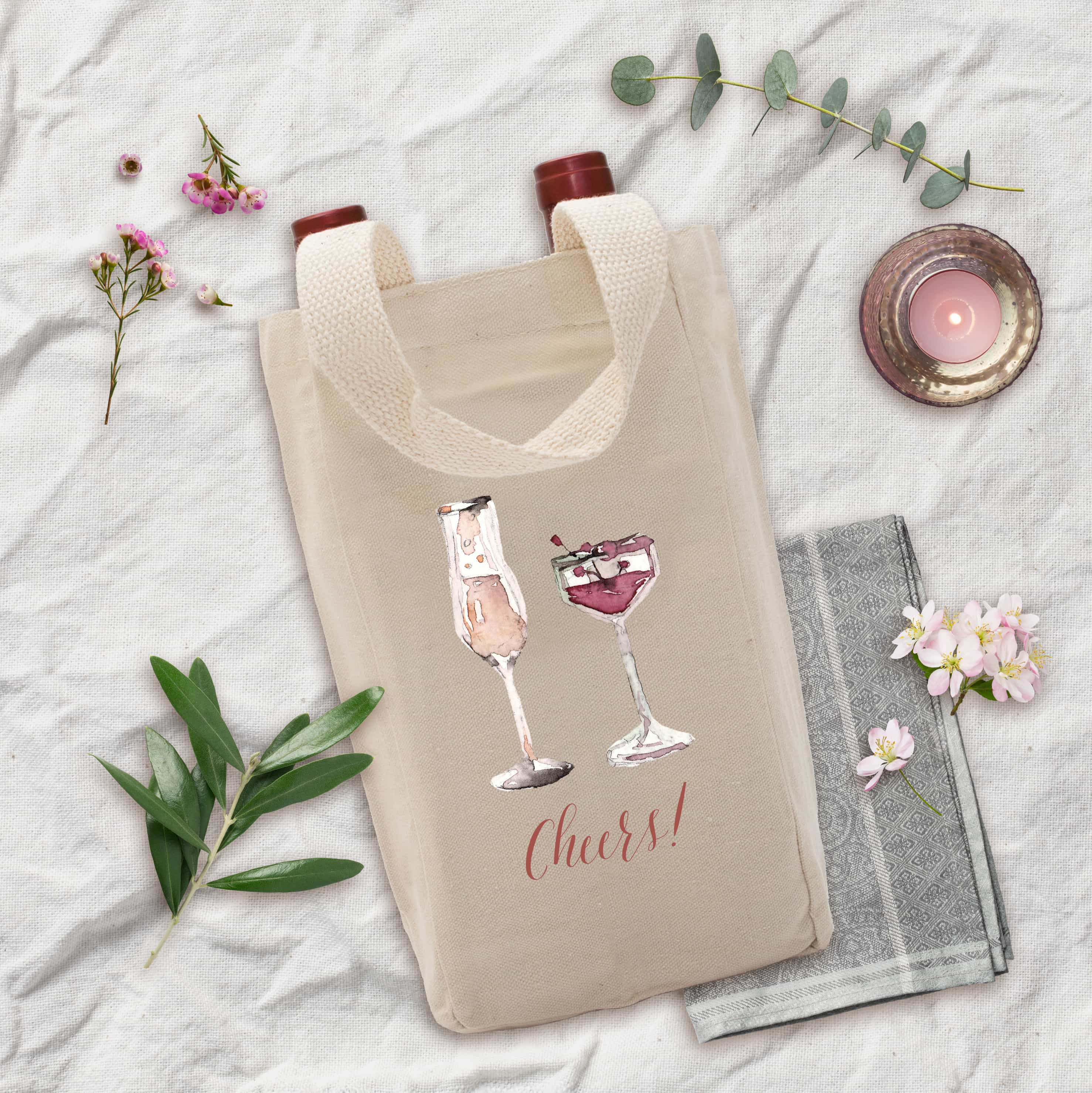 Posh Cottage Shop Winter 19 Cheers nat canvas wine tote