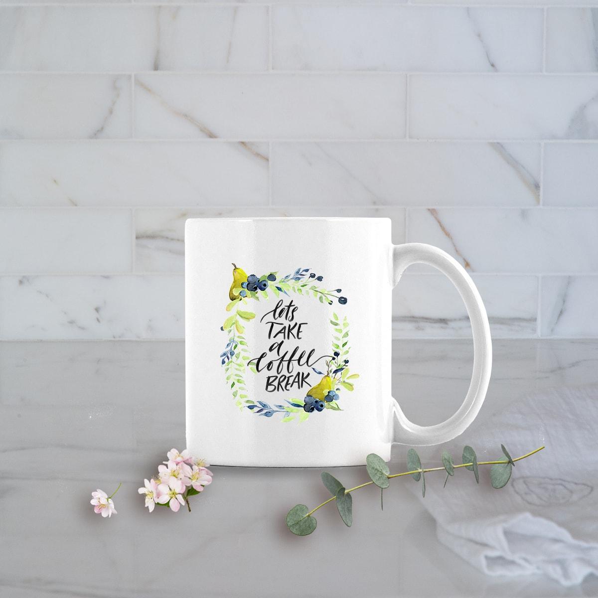 Posh Cottage Shop Winter 19 Coffee Break white 11oz mug