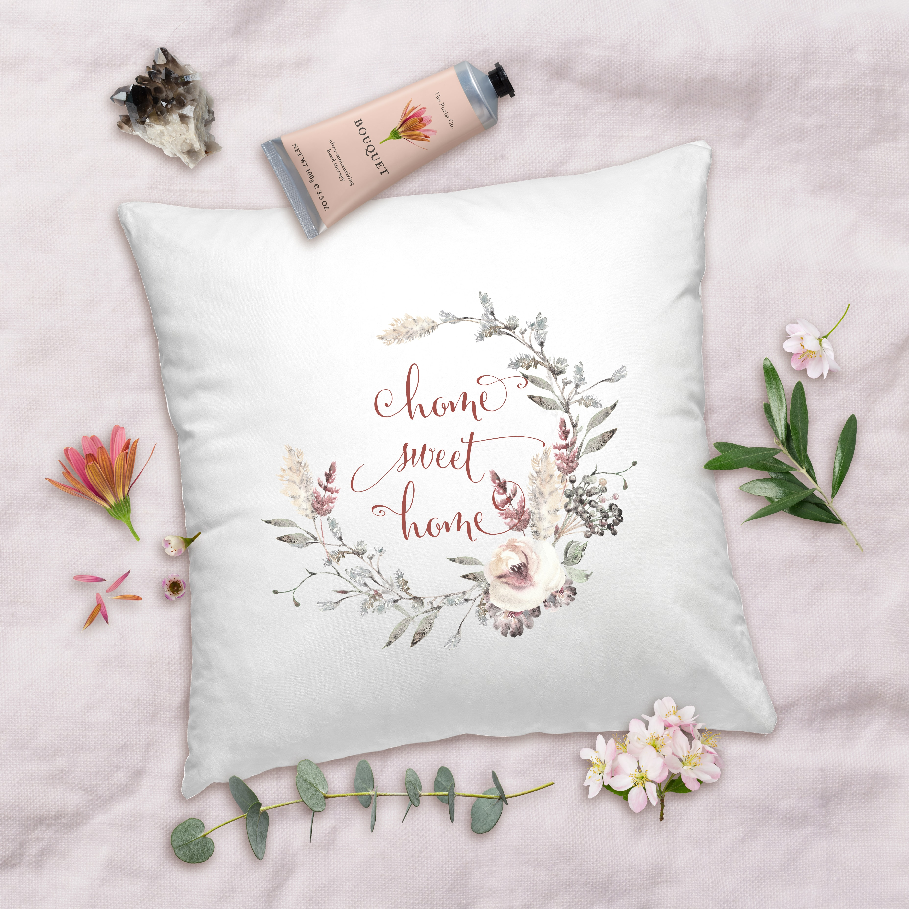 Posh Cottage Shop Winter 19 Home Sweet Home 18in white pillow