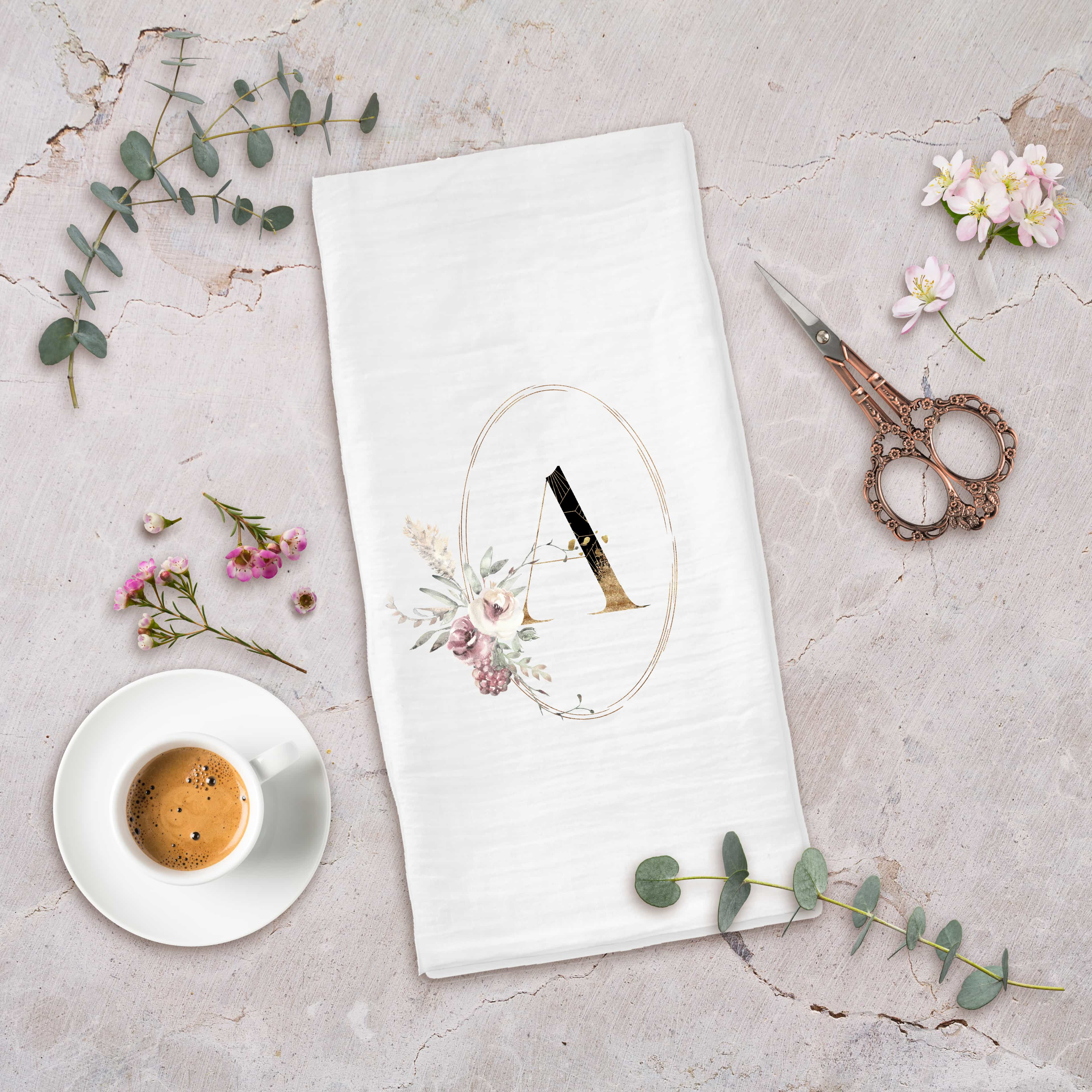 Posh Cottage Shop Winter 19 Oval Intial white tea towel