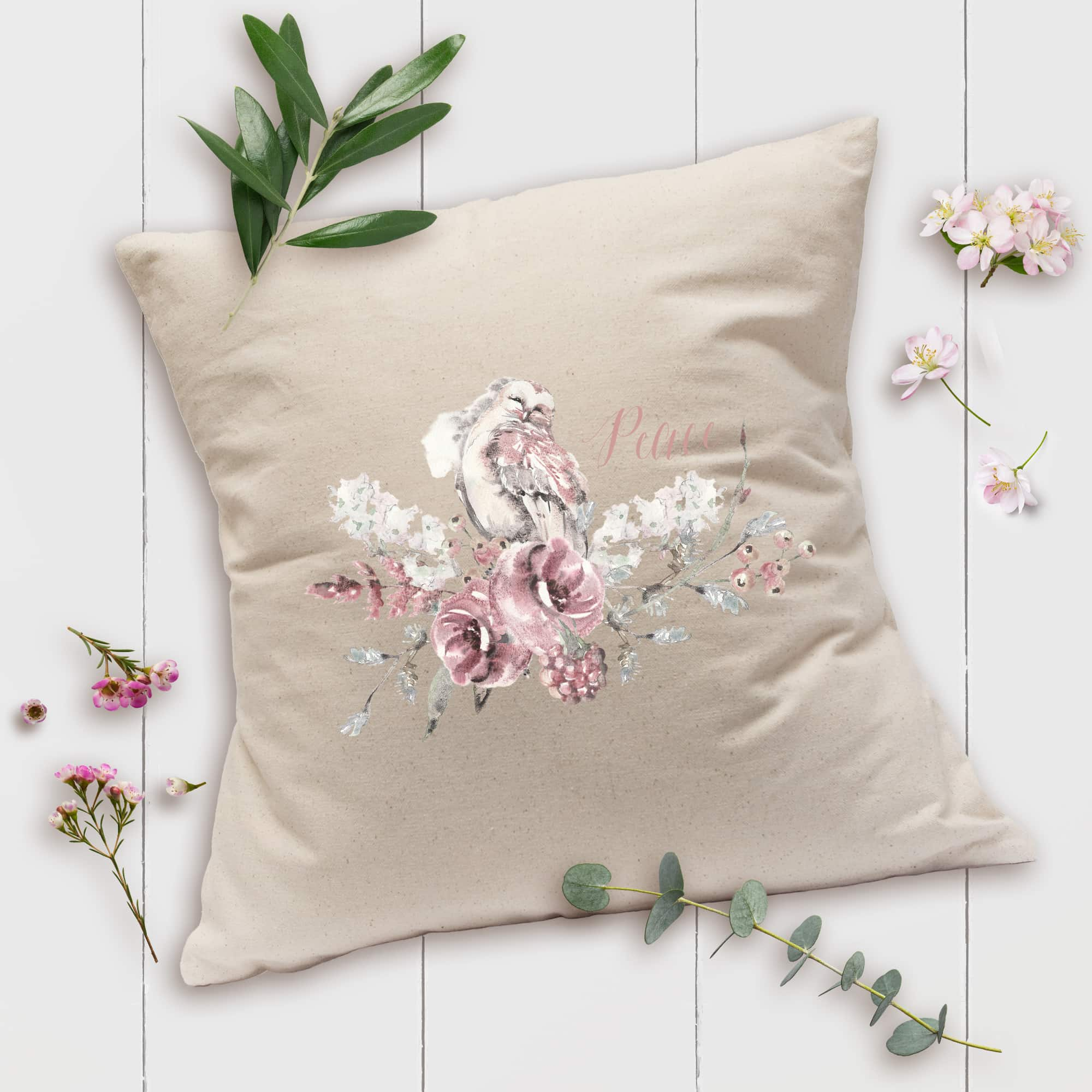 Posh Cottage Shop Winter 19 Peace Owl 18in natural pillow