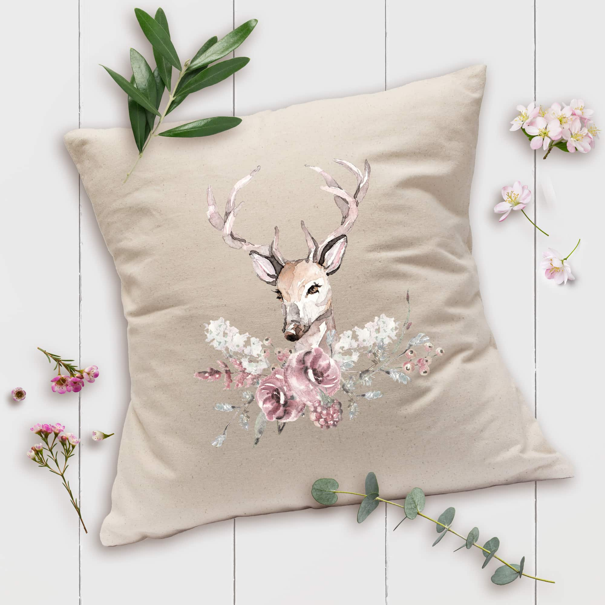 Posh Cottage Shop Winter 19 Stag Floral 18in nat pillow