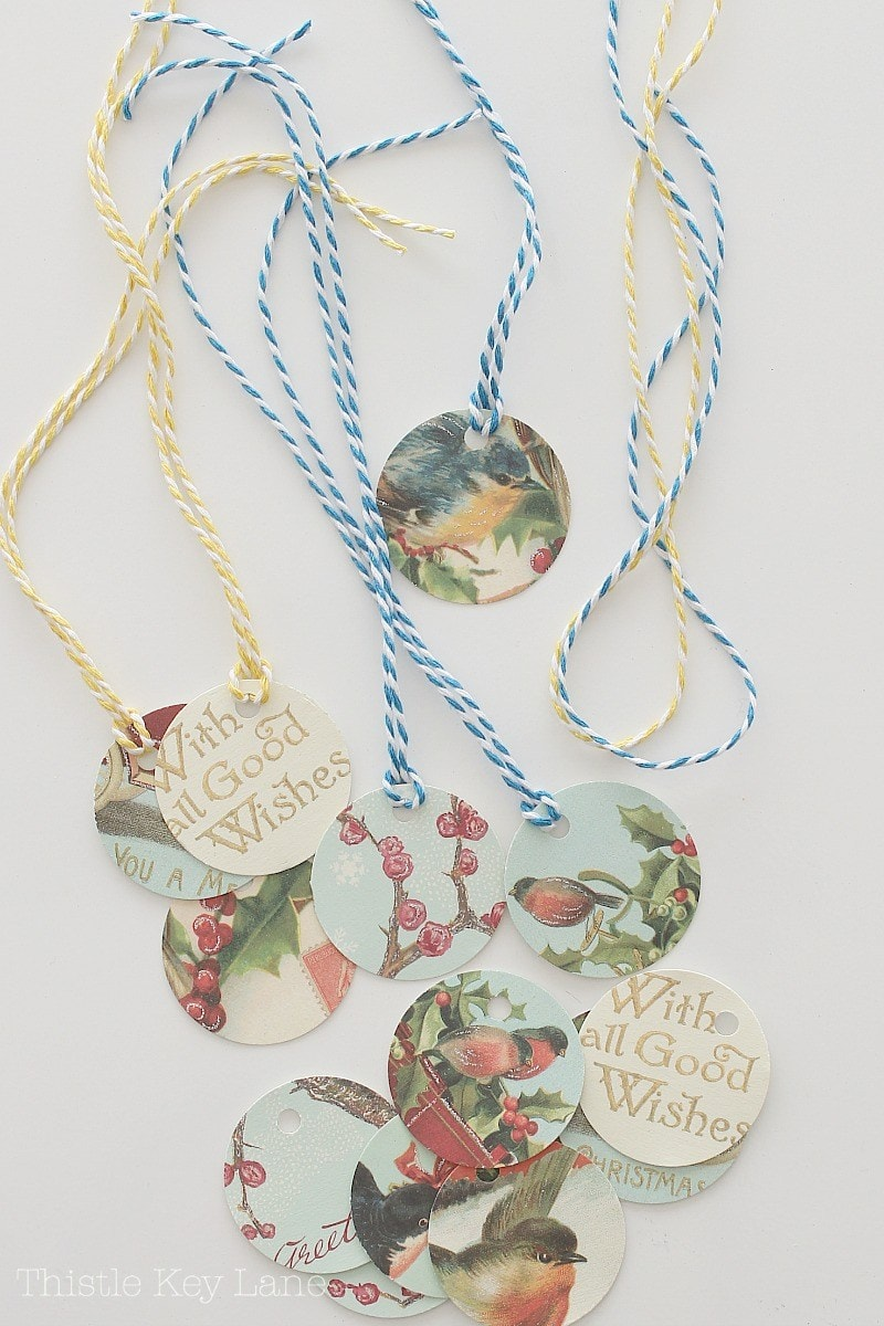colored-string-tied-to-gift-tags-vintage