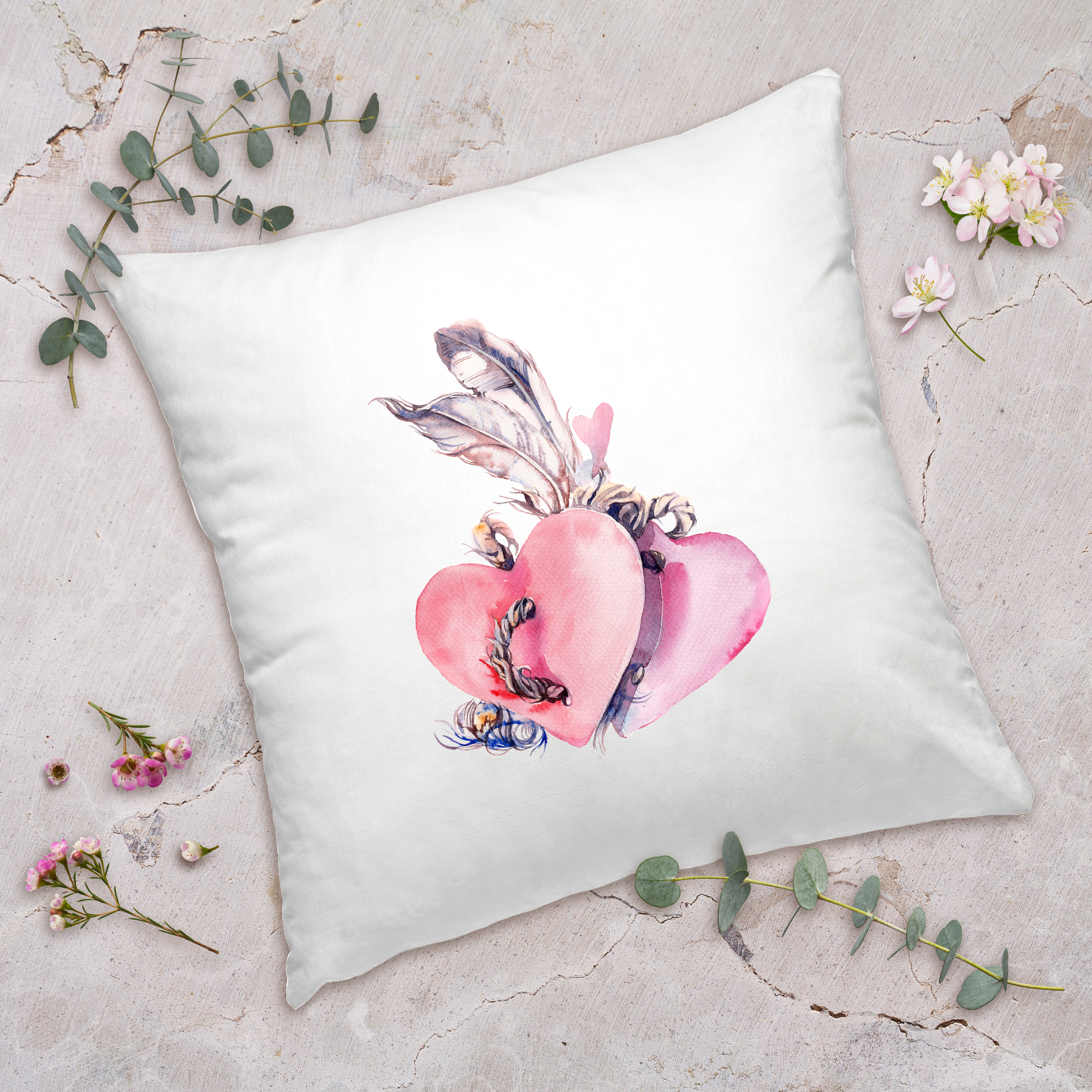 Valentines Day Gifts Heart Feather Pillow