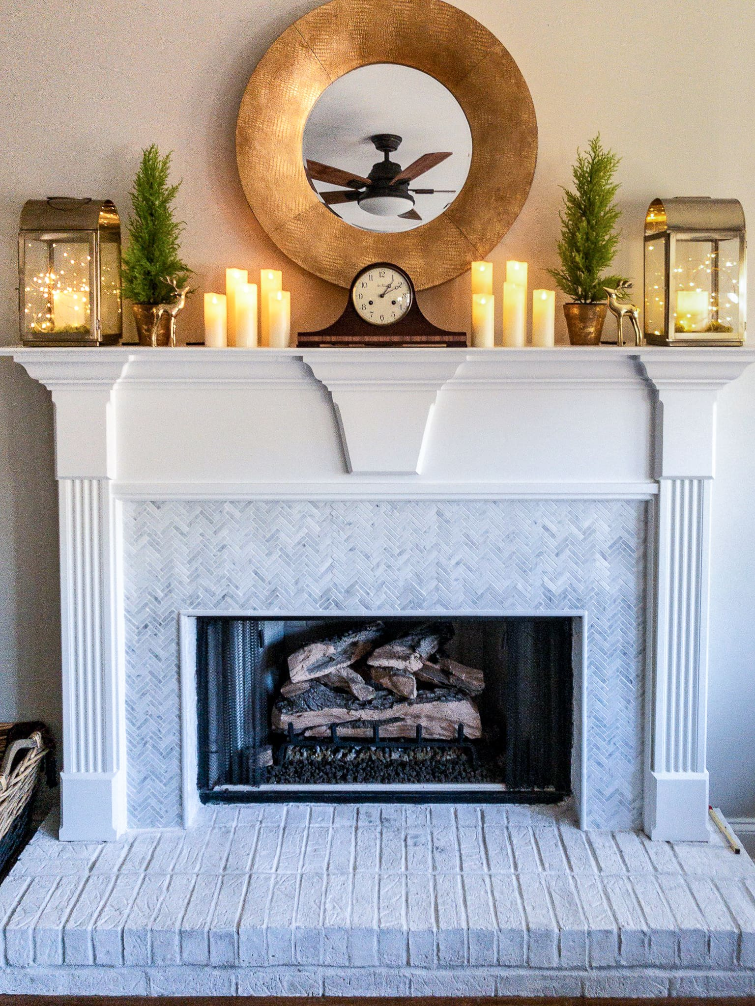 fireplace makeover paint and marble tile