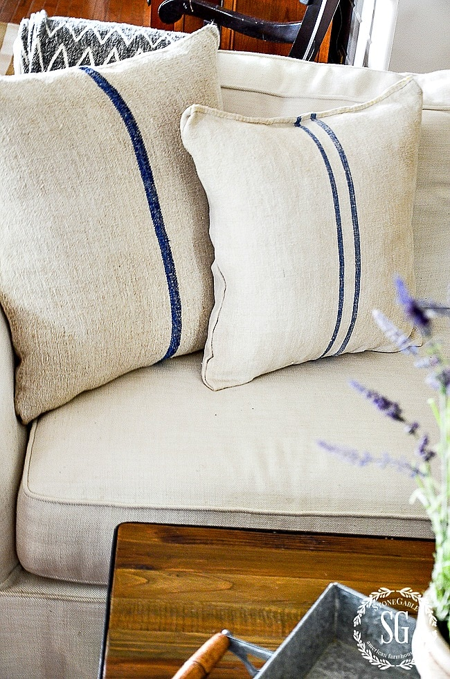 GRAIN SACK PILLOW- blue stripes-bstonegableblog