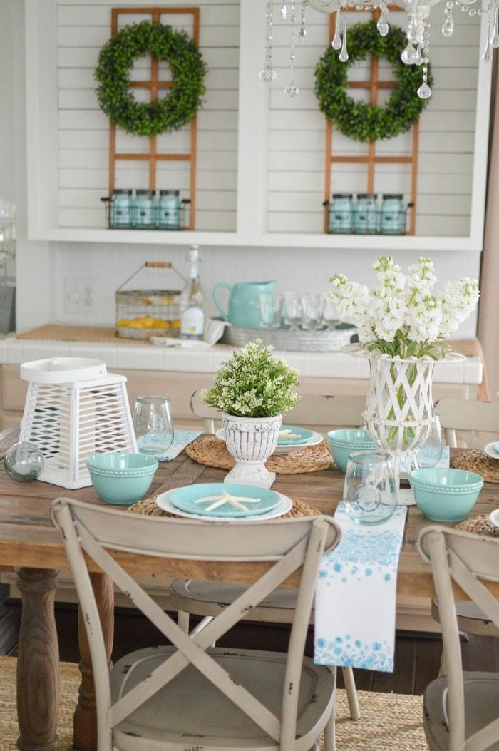 Aqua-Coastal-Cottage-Farmhouse-Table-Decorating-Ideas-foxhollowcottage.com Spring-Summer