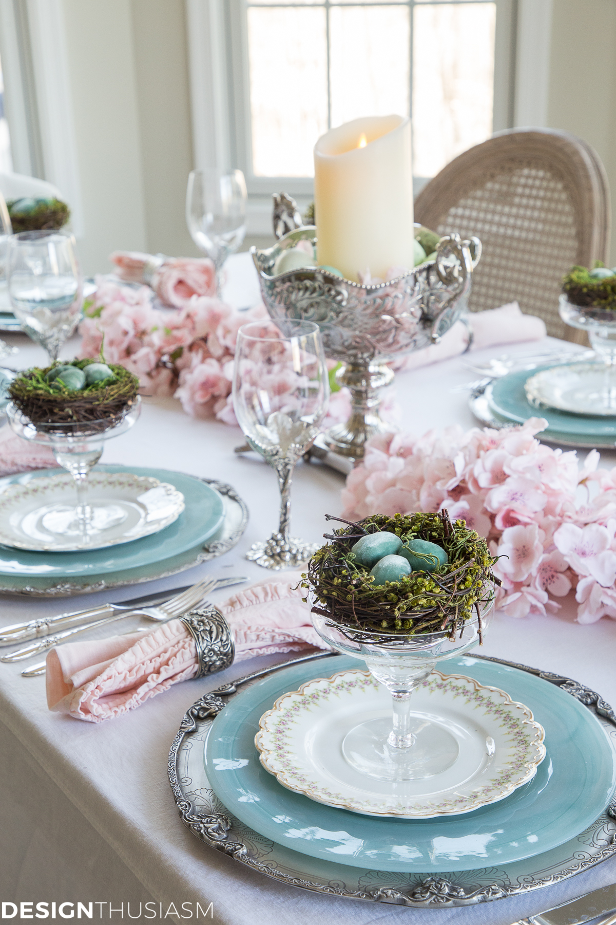 spring cherry blossom branch tablescape for Easter