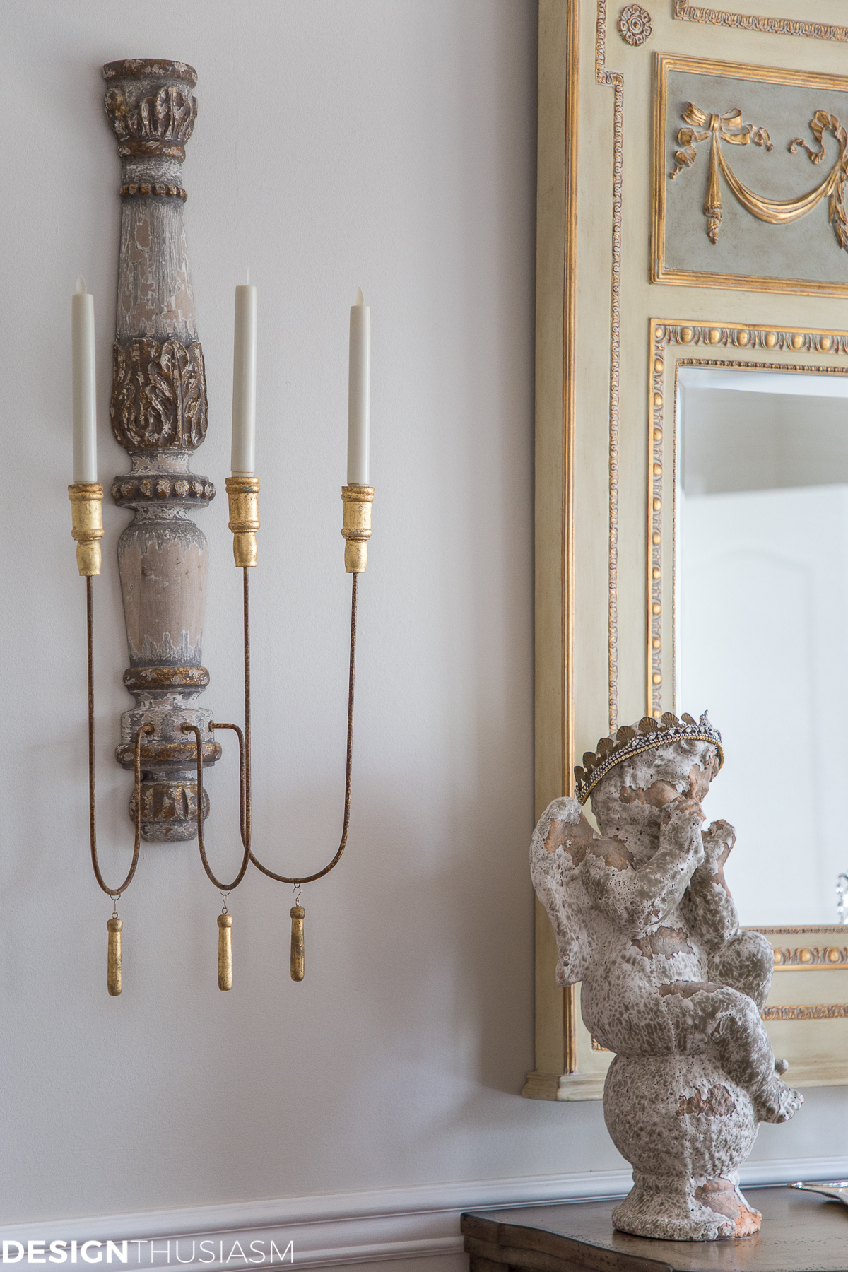 French farmhouse wall sconce and mirror