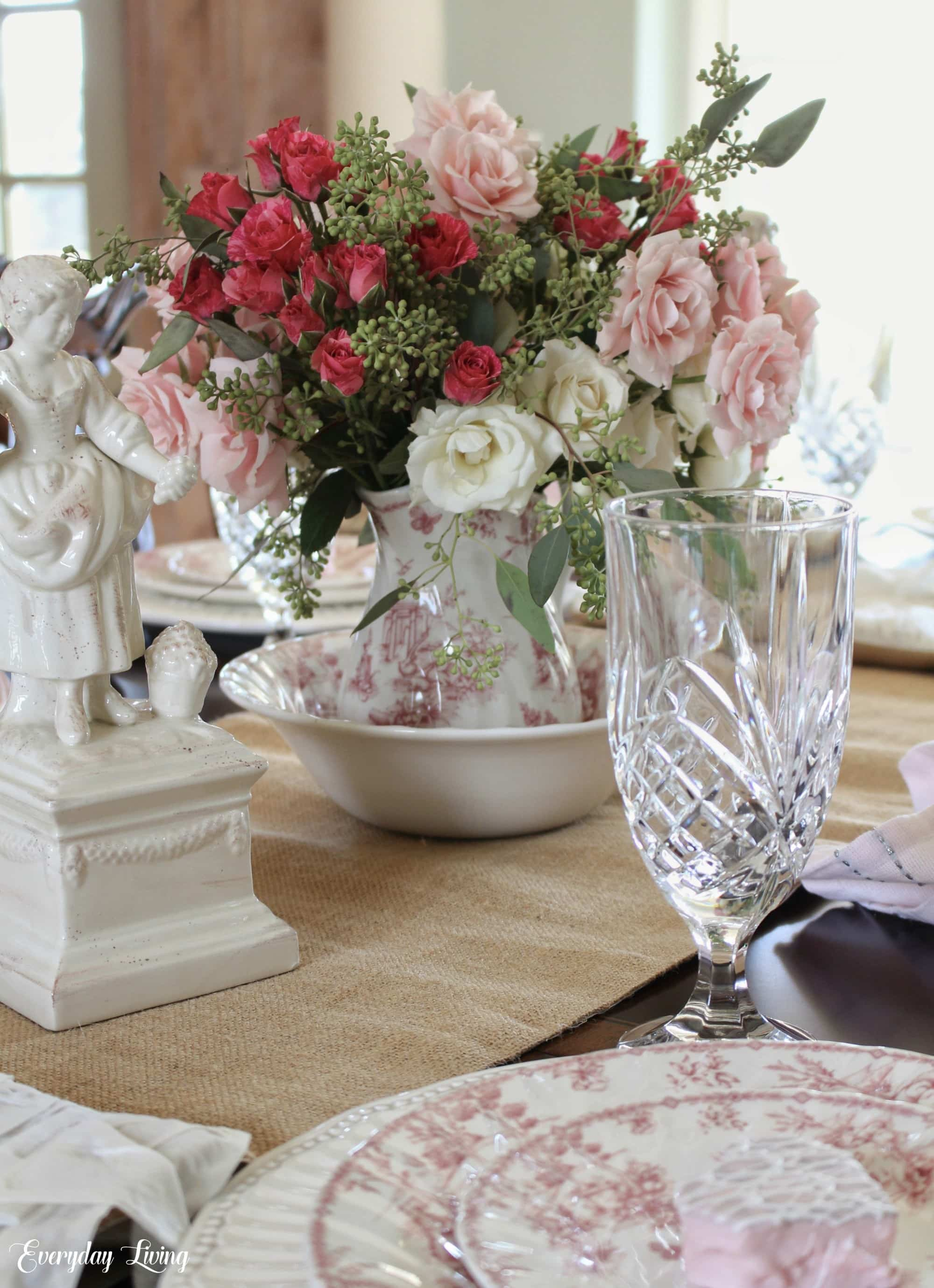 Simple-Valentine-tablescape-using-spray-roses-as-the-centerpiece
