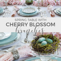 cherry blossom branch table setting