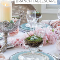 cherry blossom branch spring tablescape
