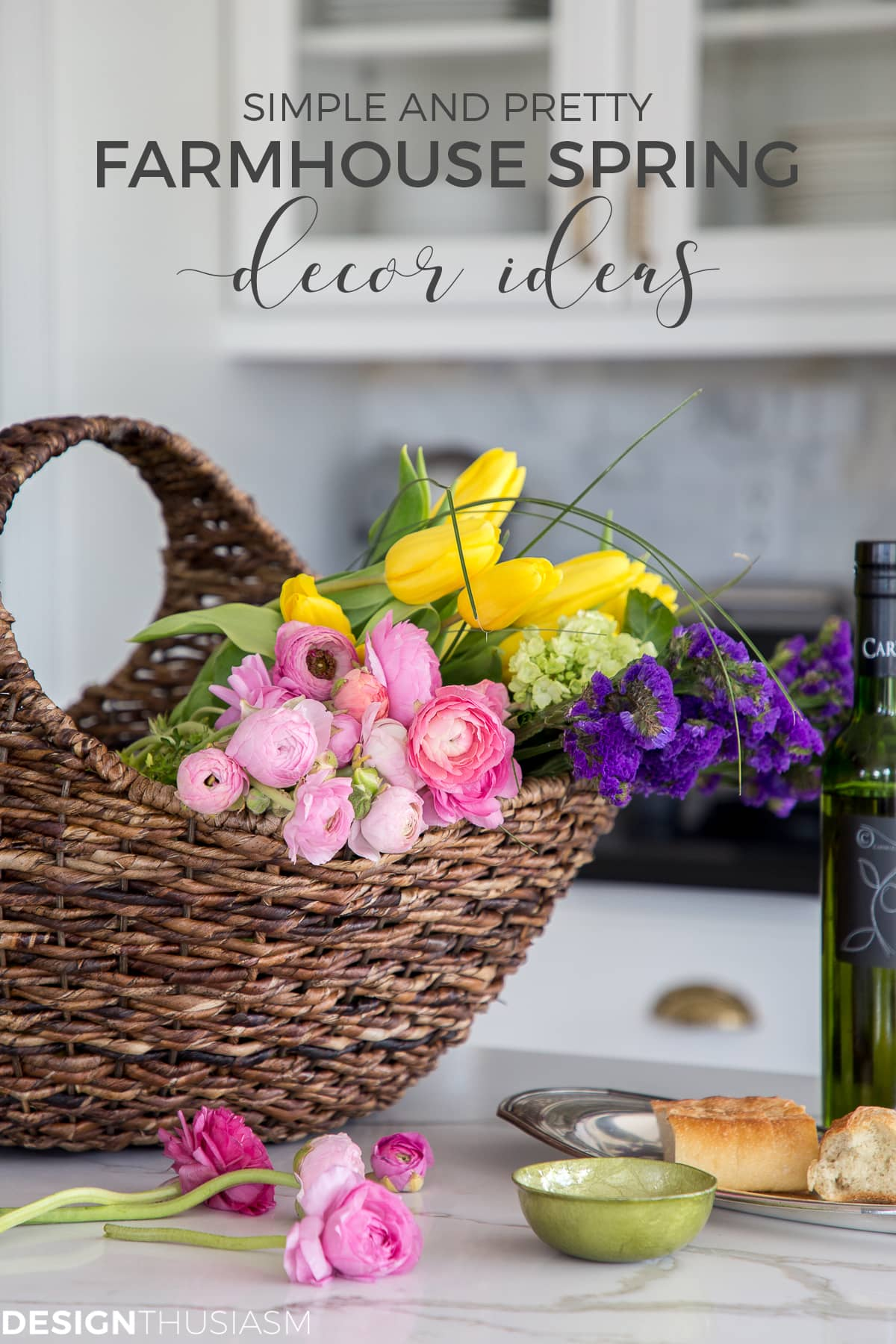 farmhouse spring decor ideas basket of flowers