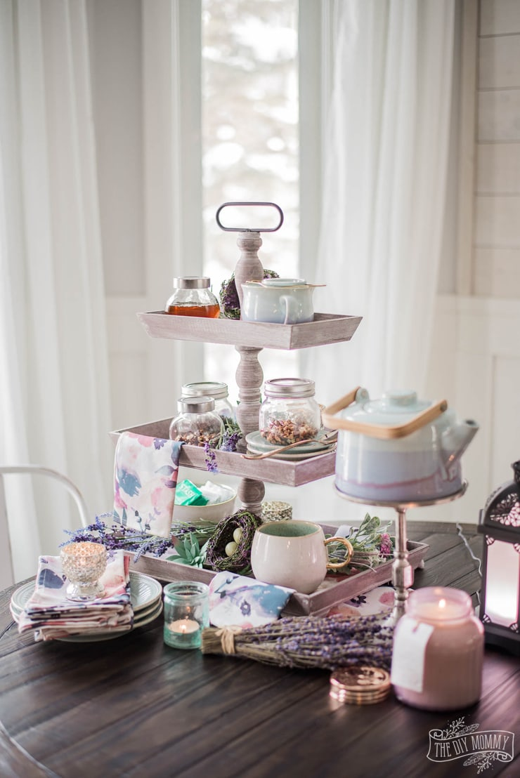 Lavender-and-Aqua-Spring-Tea-Station-Tiered-Tray