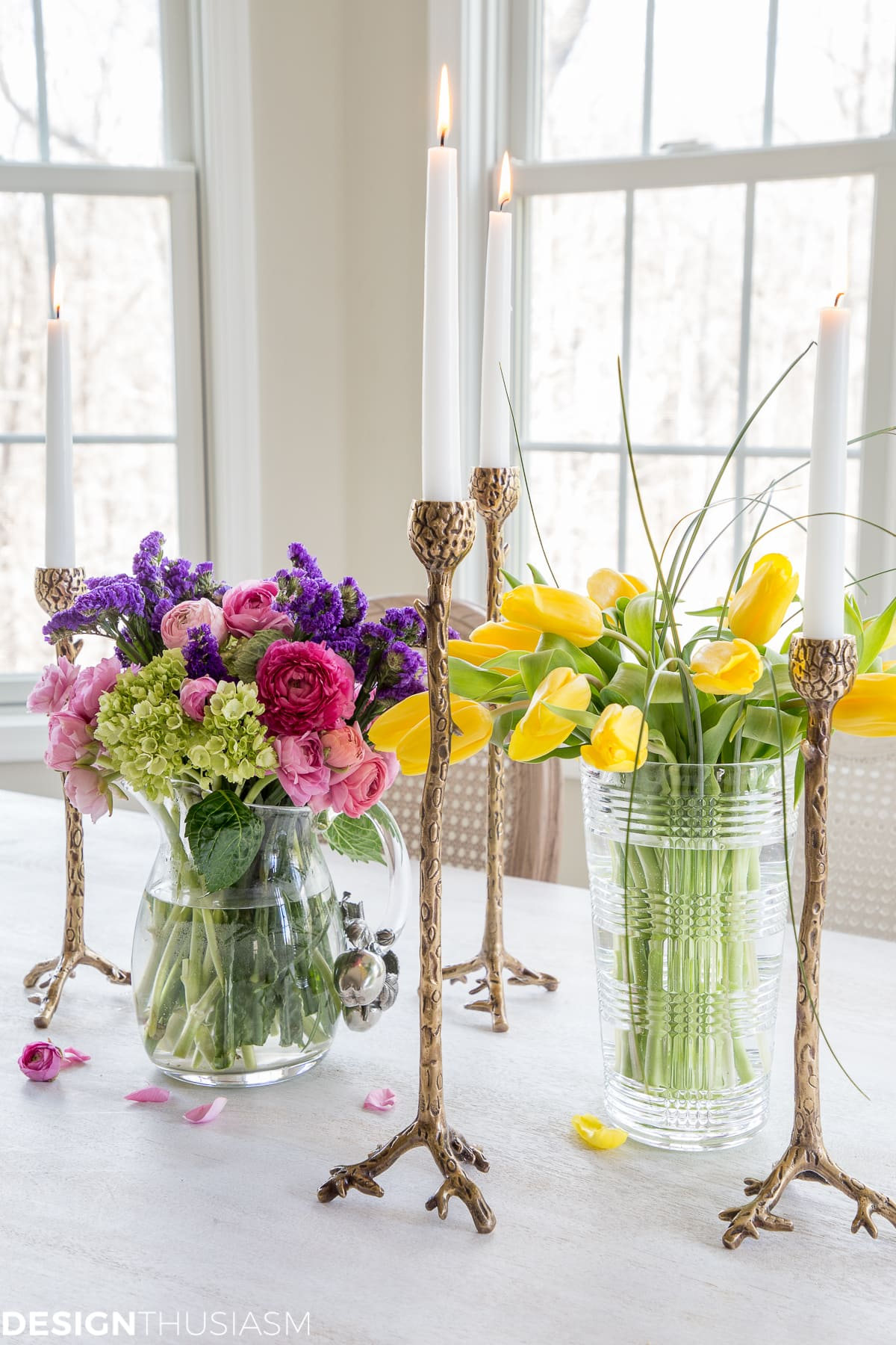 farmhouse spring decor flowers and candlesticks
