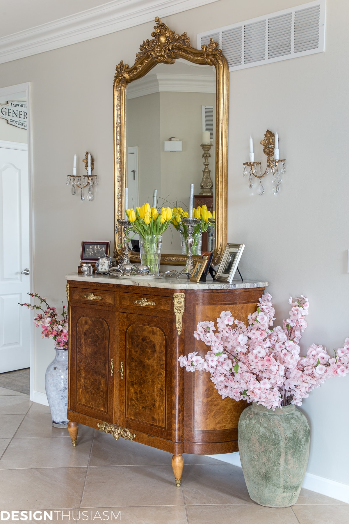 farmhouse spring decor elegant entryway