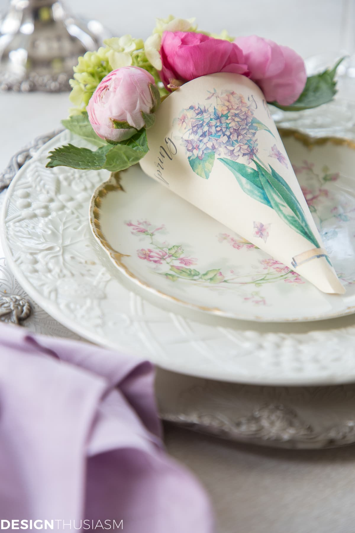 spring printable paper cone posy on a china plate