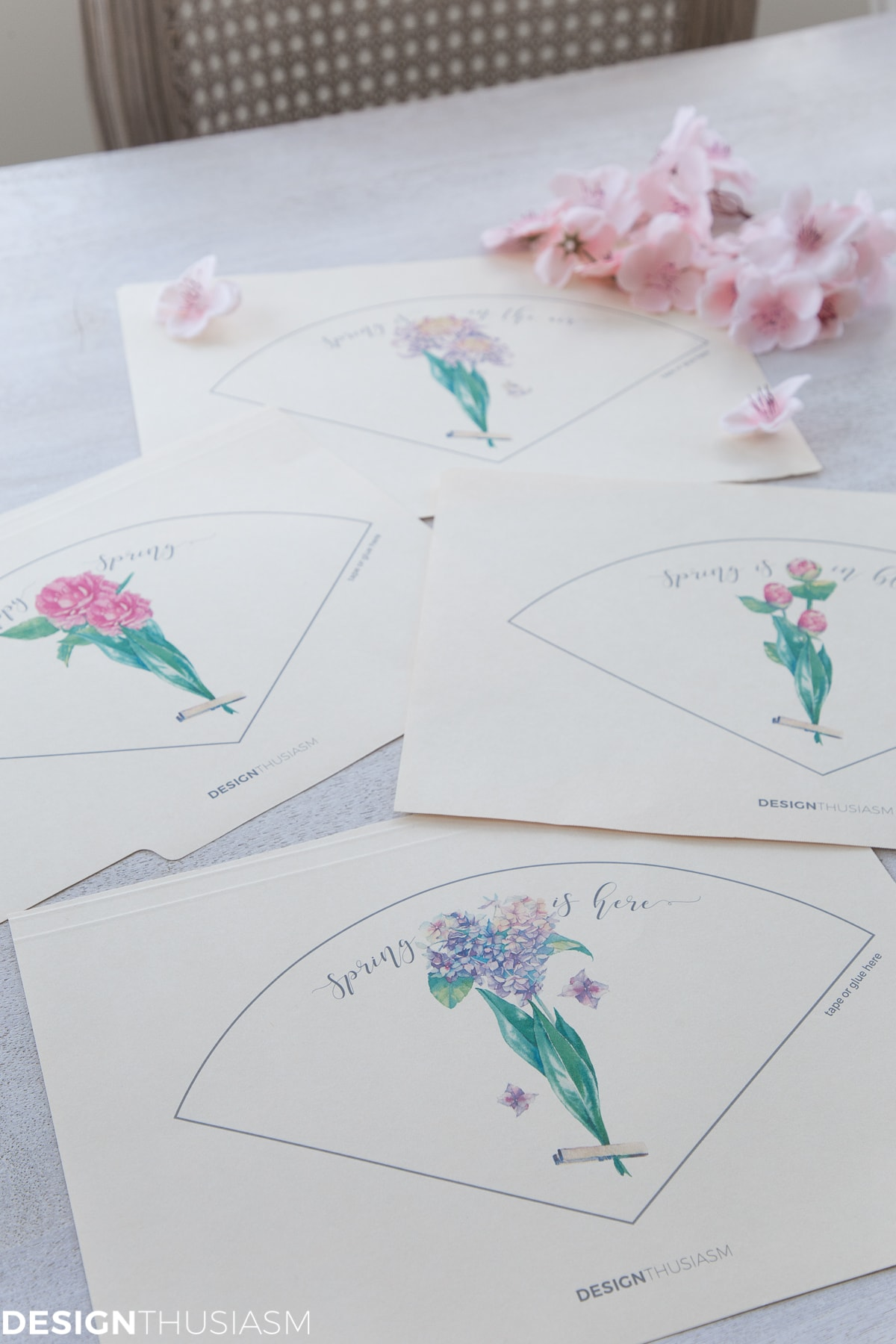 spring printable template for paper cone posy