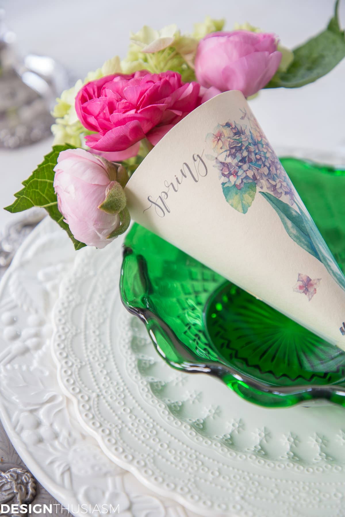 spring printable paper cone posy in a green bowl