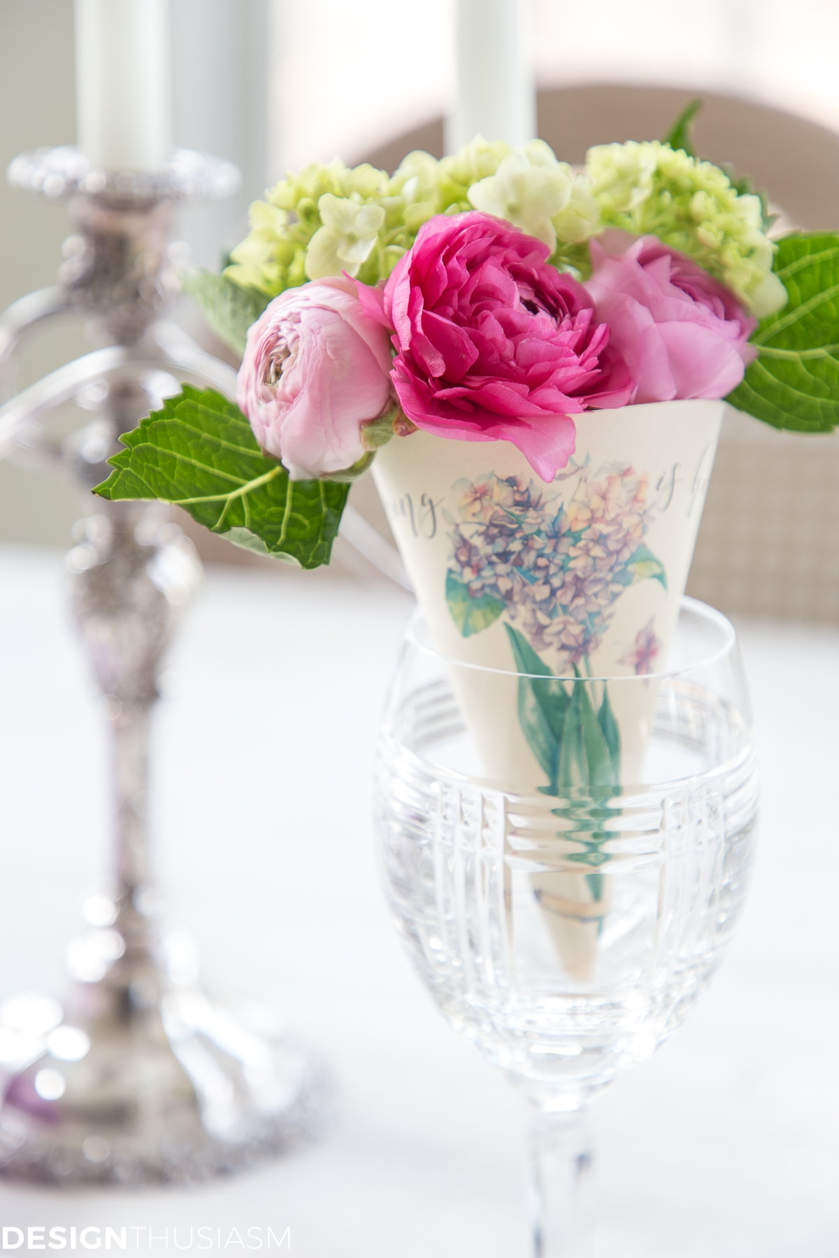 spring printable paper cone posy in a wine glass