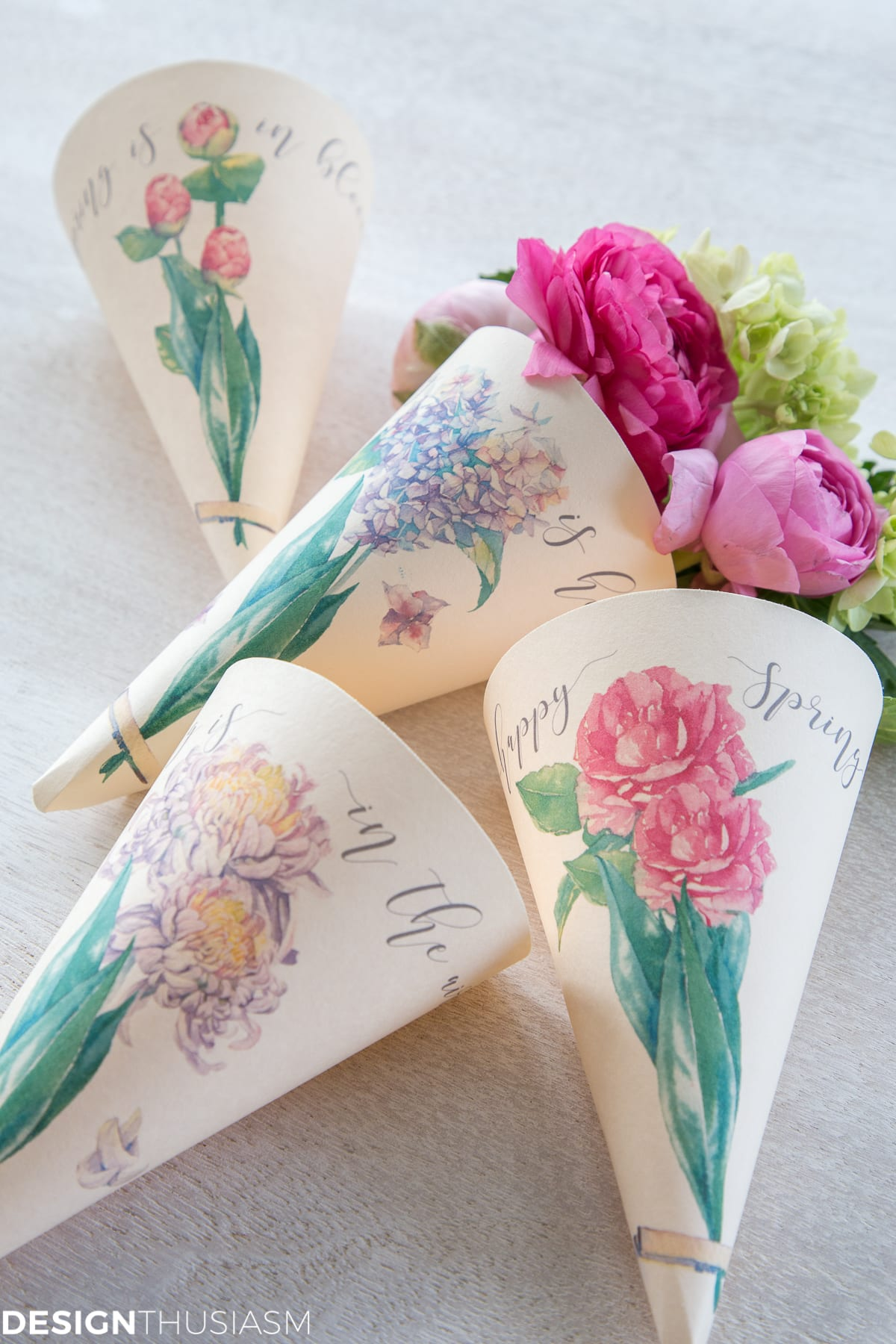 4 spring printable paper cone posies with flowers