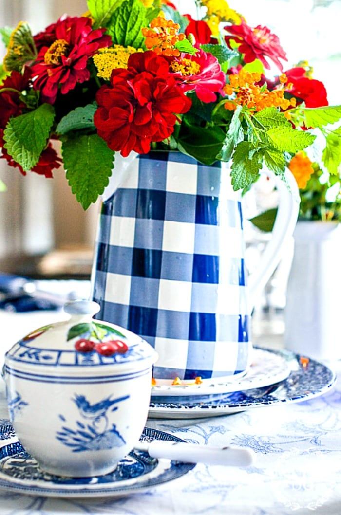 BLUE AND WHITE FARMHOUSE BREAKFAST-pot-of-flowers-stonegableblog