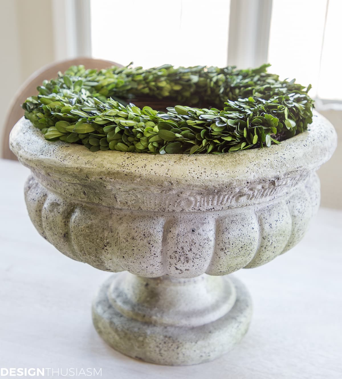 wreath on planter for easy Easter centerpieces