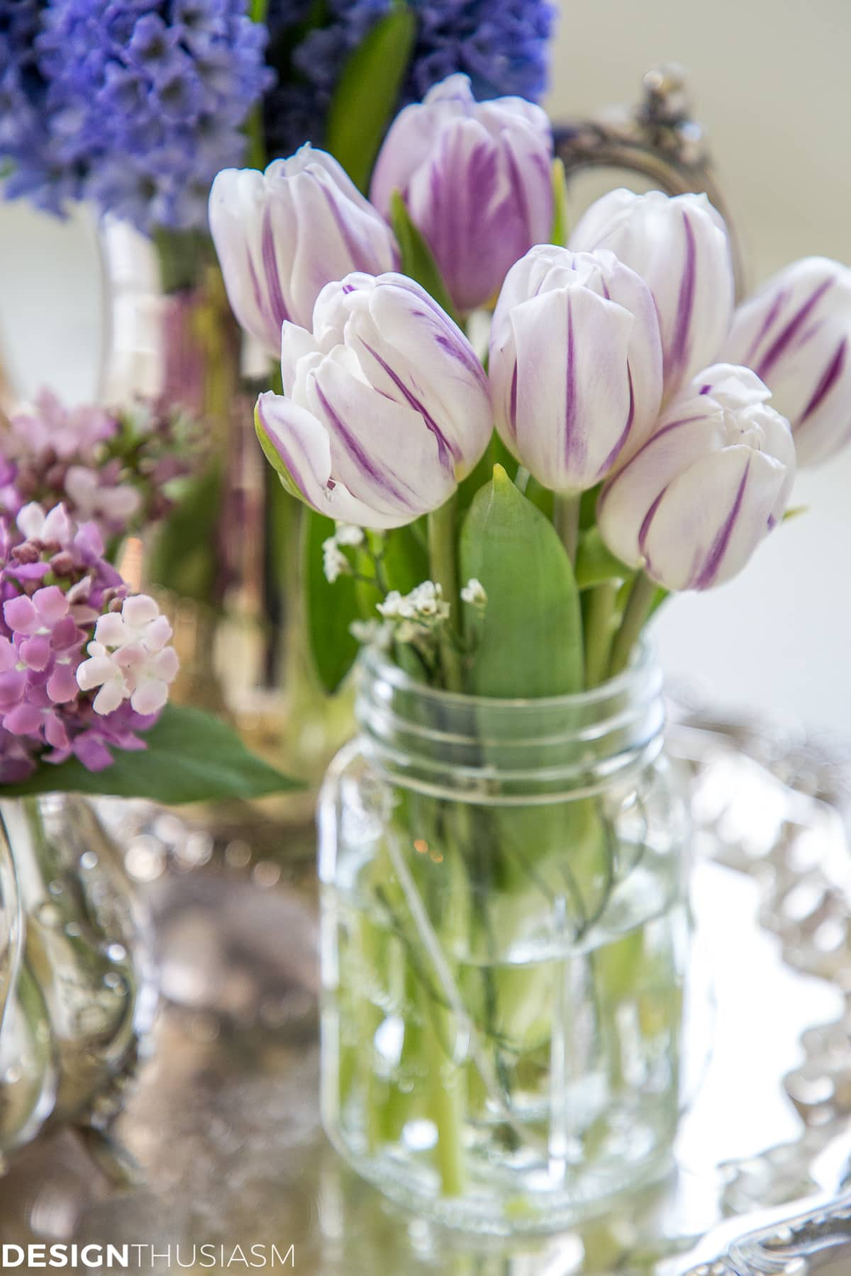 summer refresh bathroom decor tulips on a tray