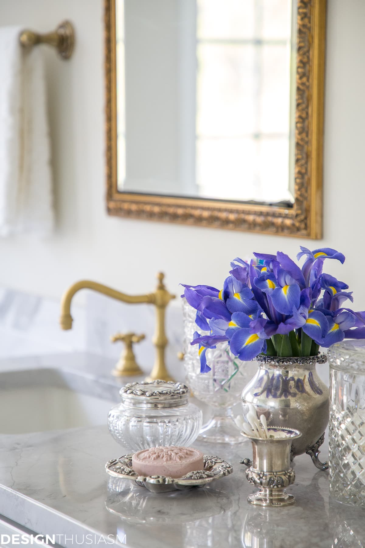 summer refresh bathroom decor with vintage vanity pieces