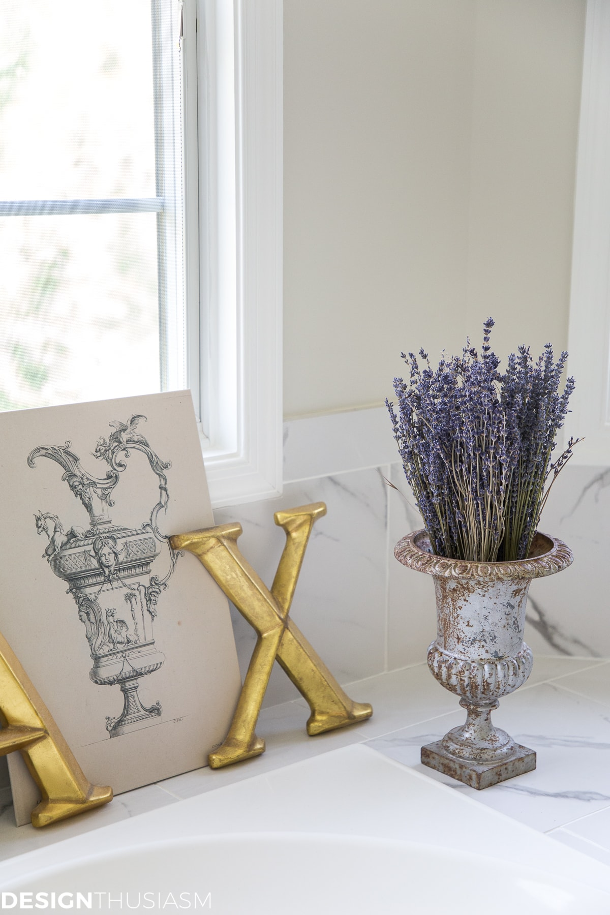 summer refresh bathroom decor lavender in an urn