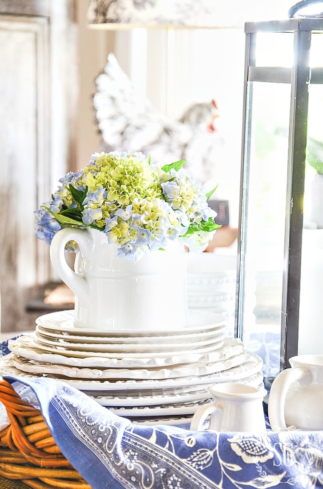 5 TIPS TO CREATE A SUMMERY KITCHEN VIGNETTE-pitcher of hydrangeas-stonegableblog