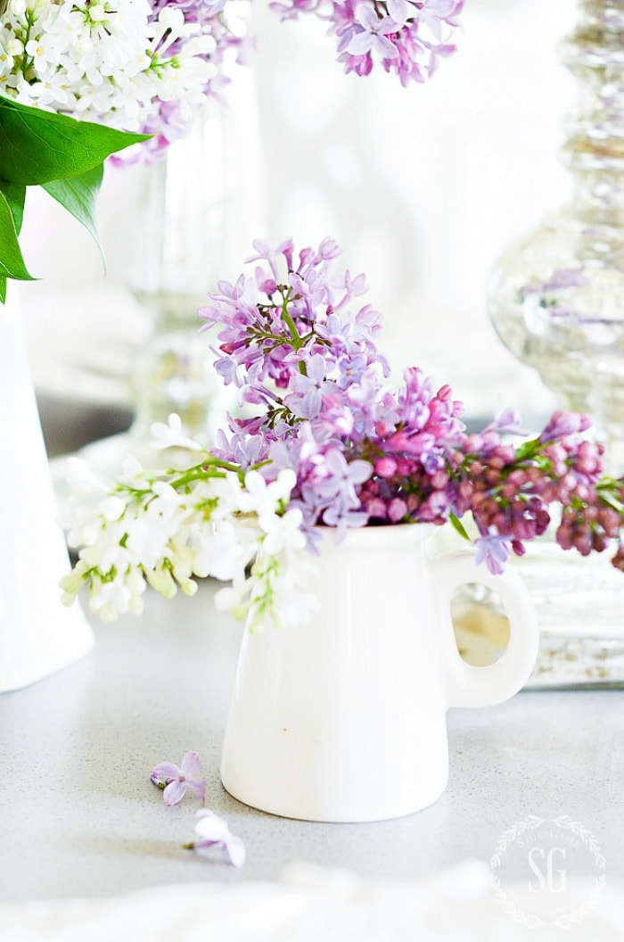 LILAC TABLE-white creamer-stonegableblog