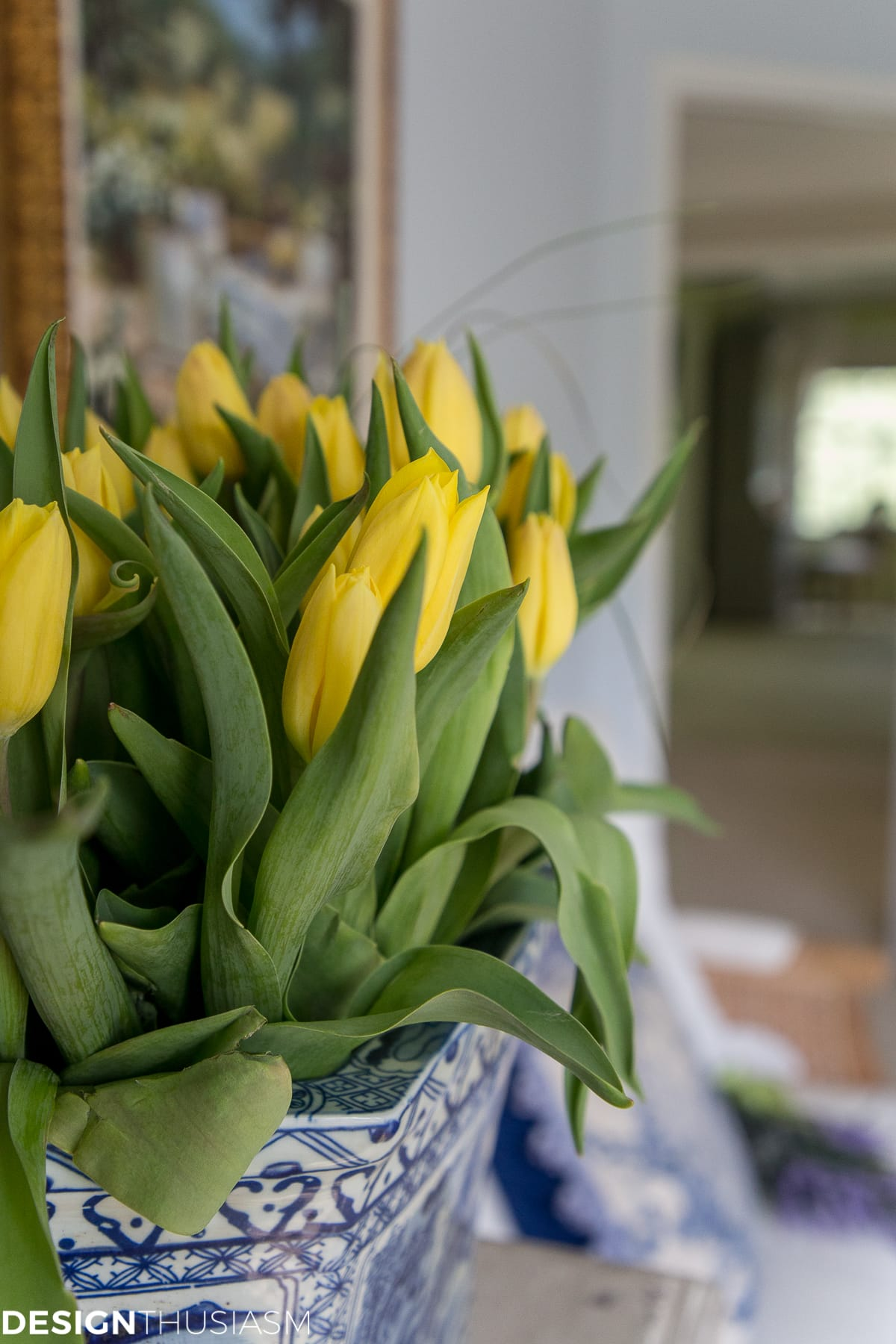 summer guest room with yellow tulips