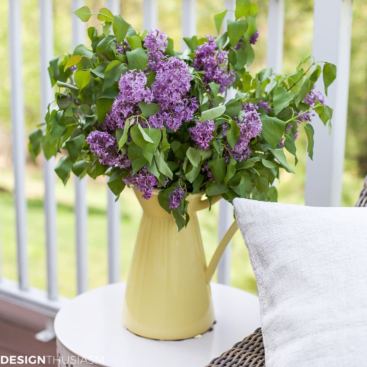 outdoor rooms lilacs in pitcher