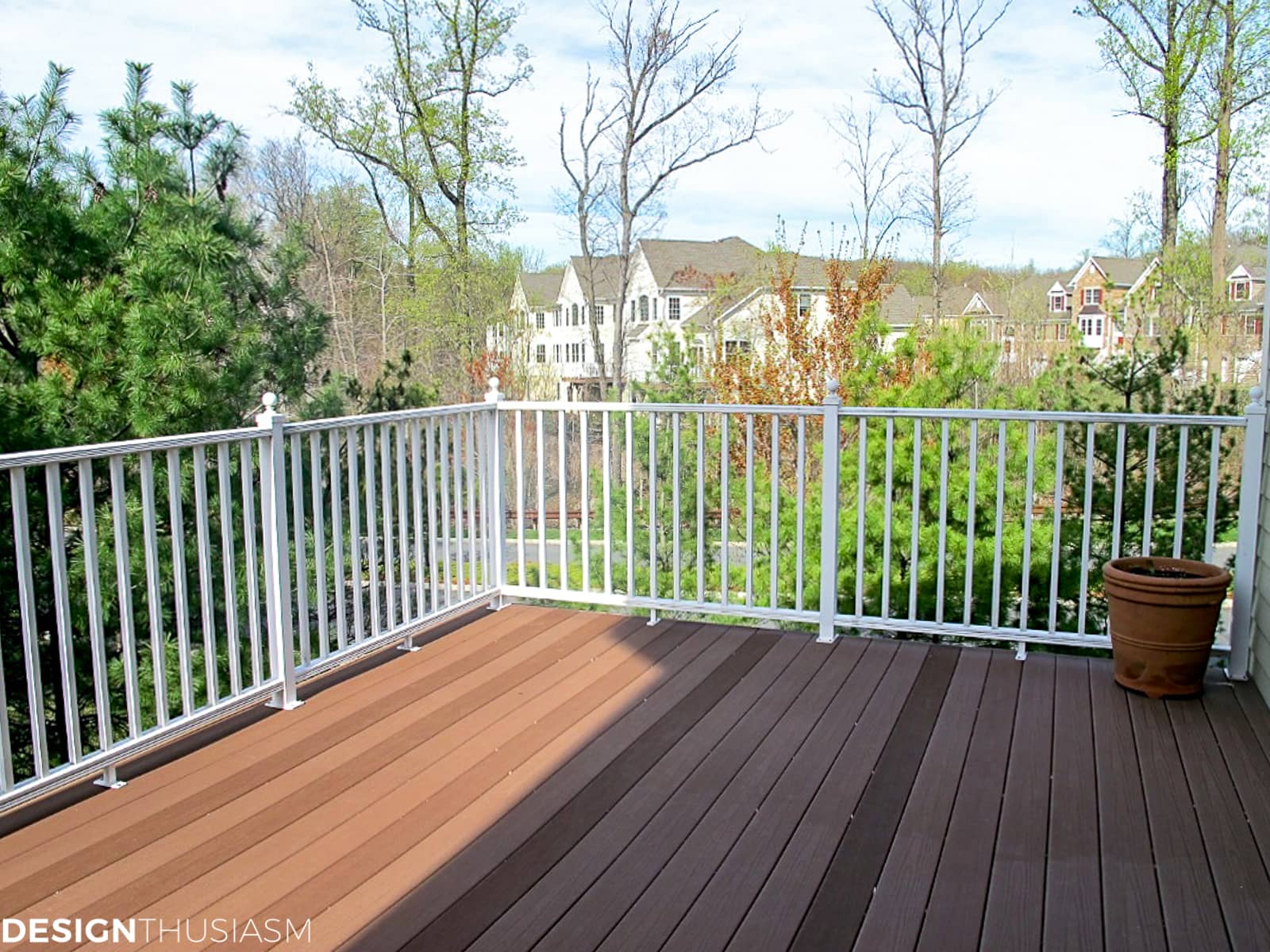 back patio with white railing