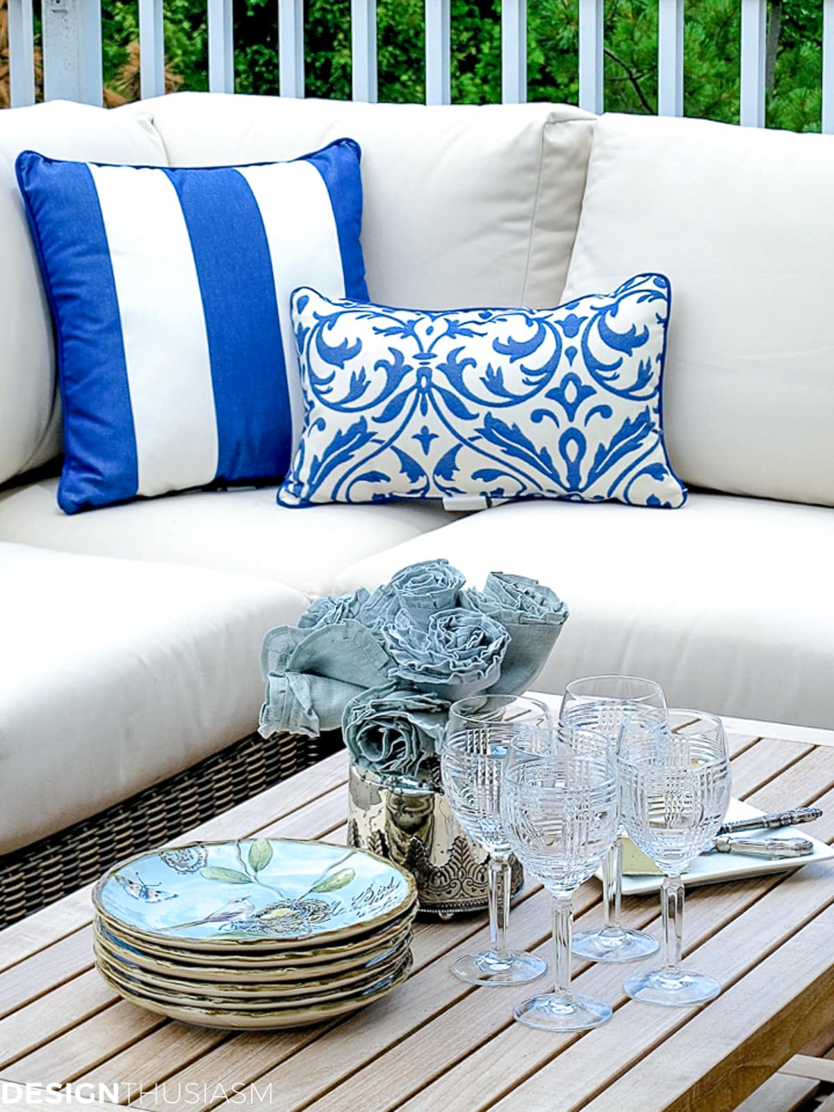 outdoor rooms with blue and white pillows