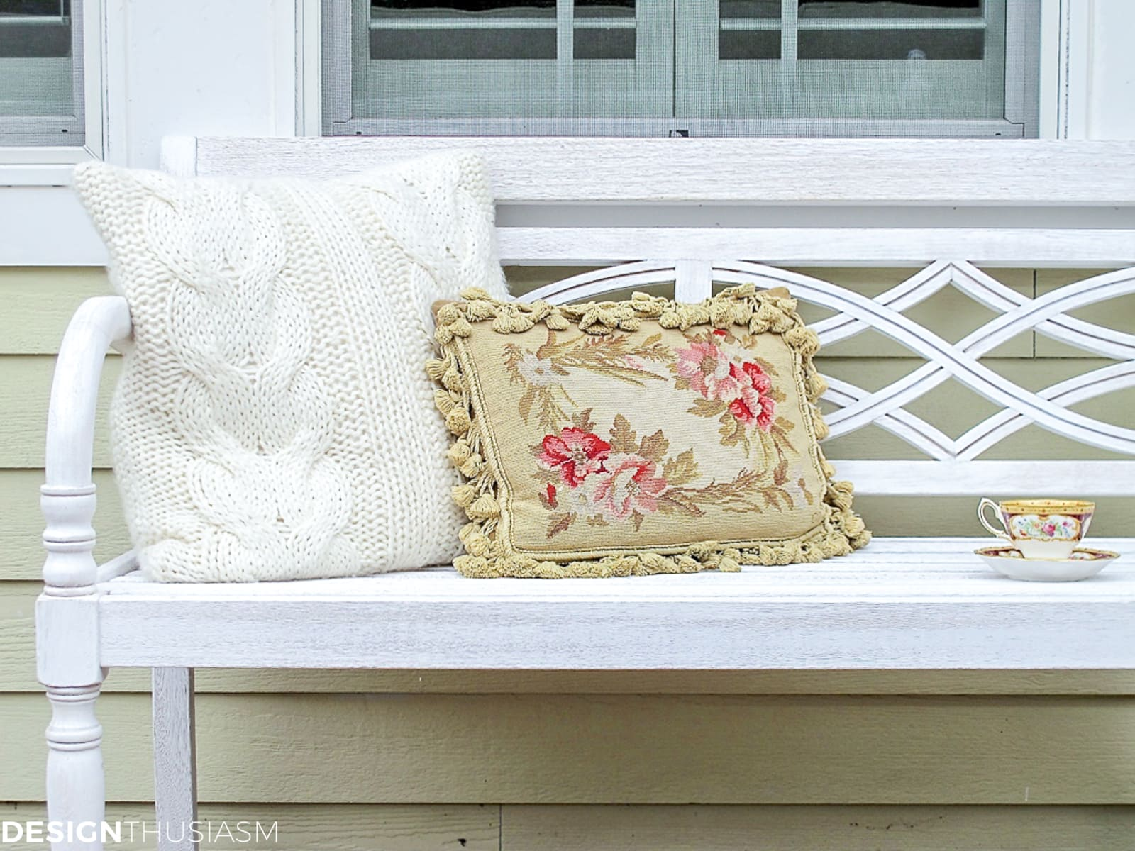 patio decor with white bench and pillows