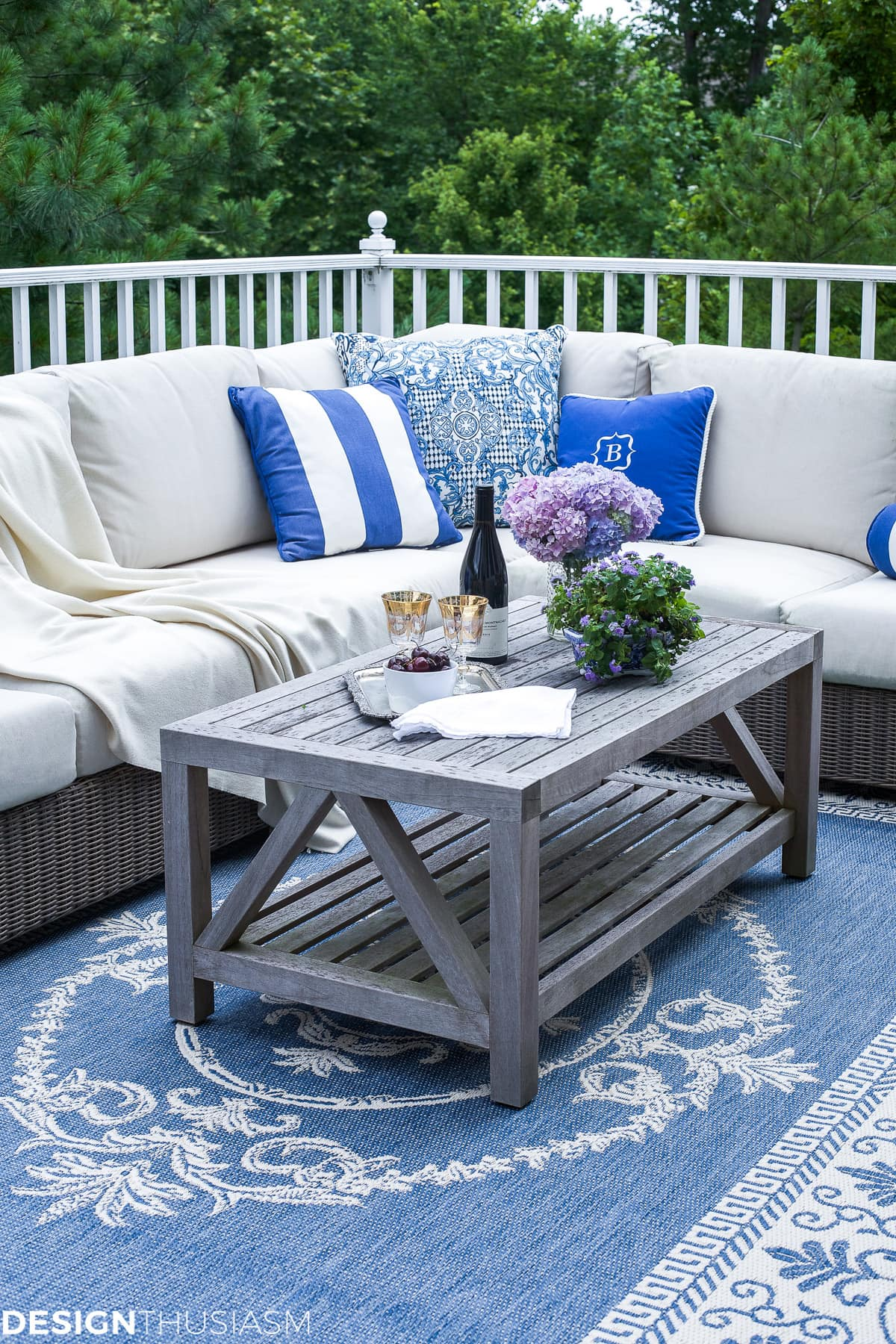 blue and white outdoor rooms