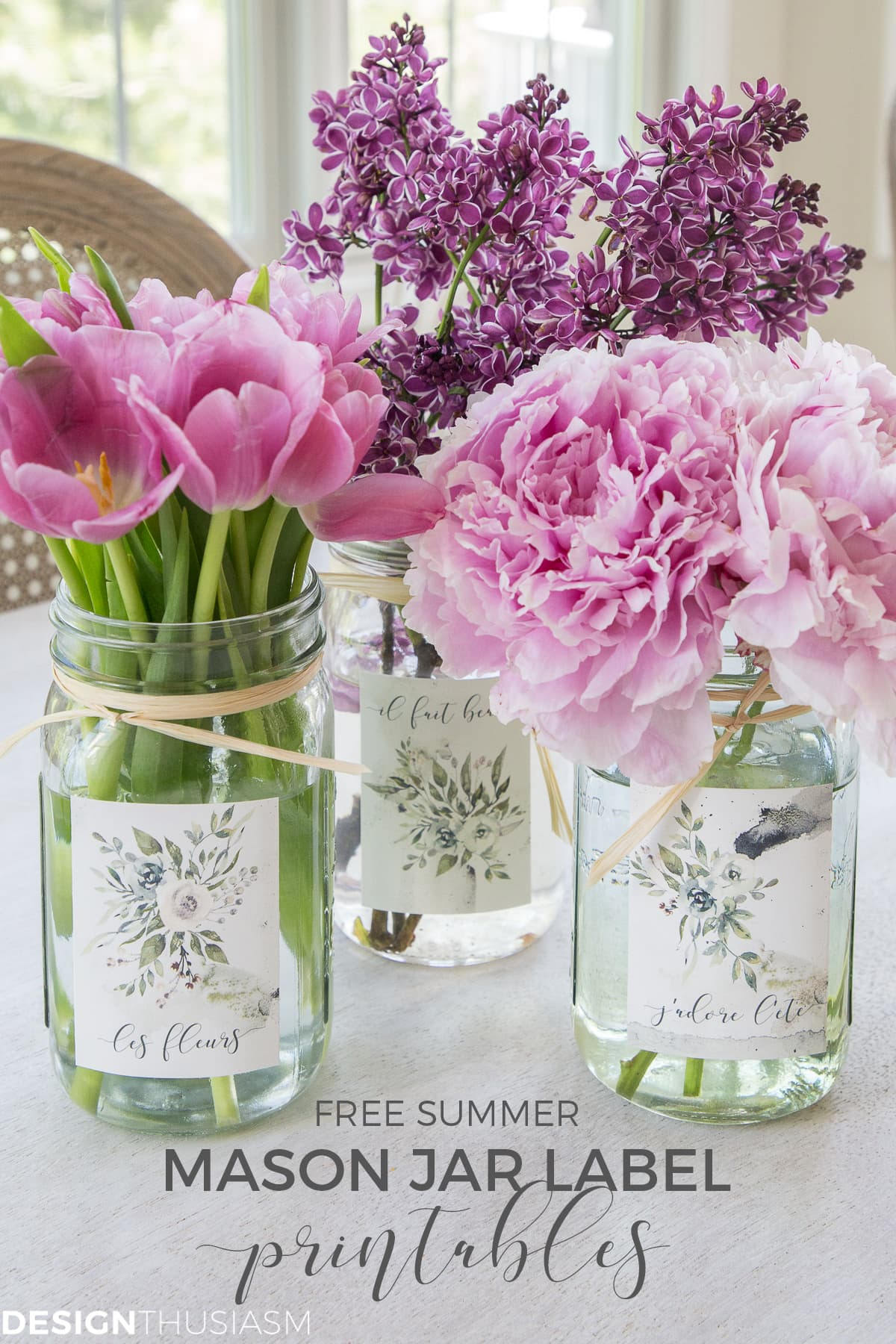 floral summer printables for mason jar labels