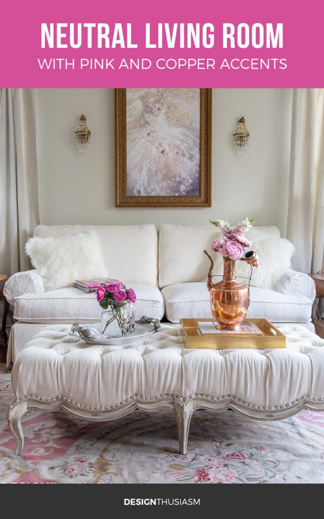 Pink and copper living room