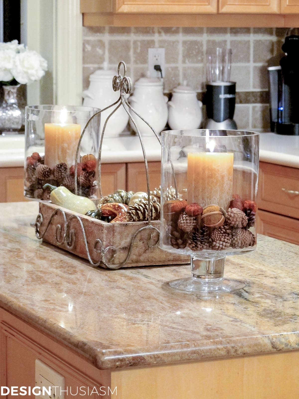 spiced candles and autumn decor filler in the kitchen