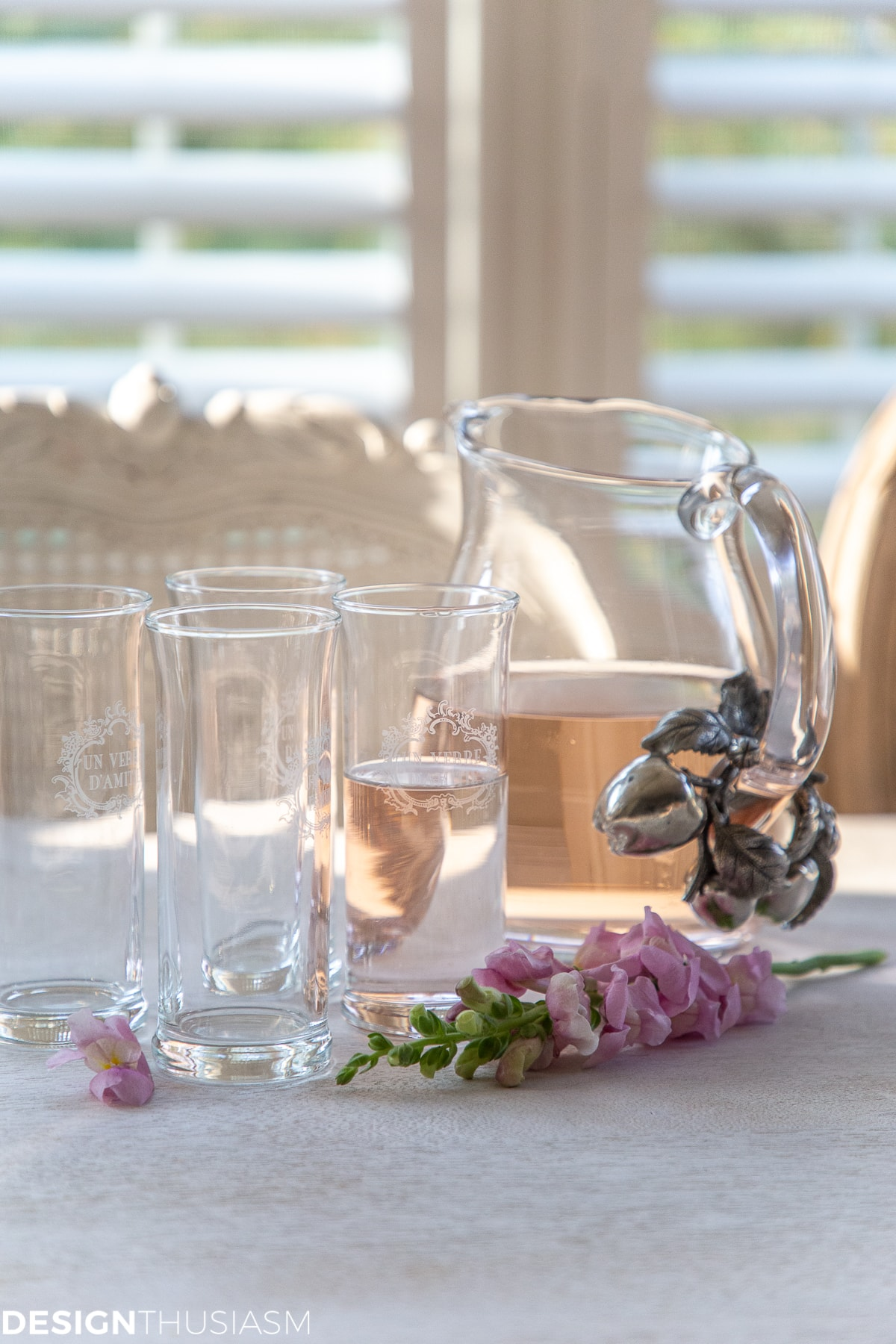 kitchen breakfast bar pitcher and glasses