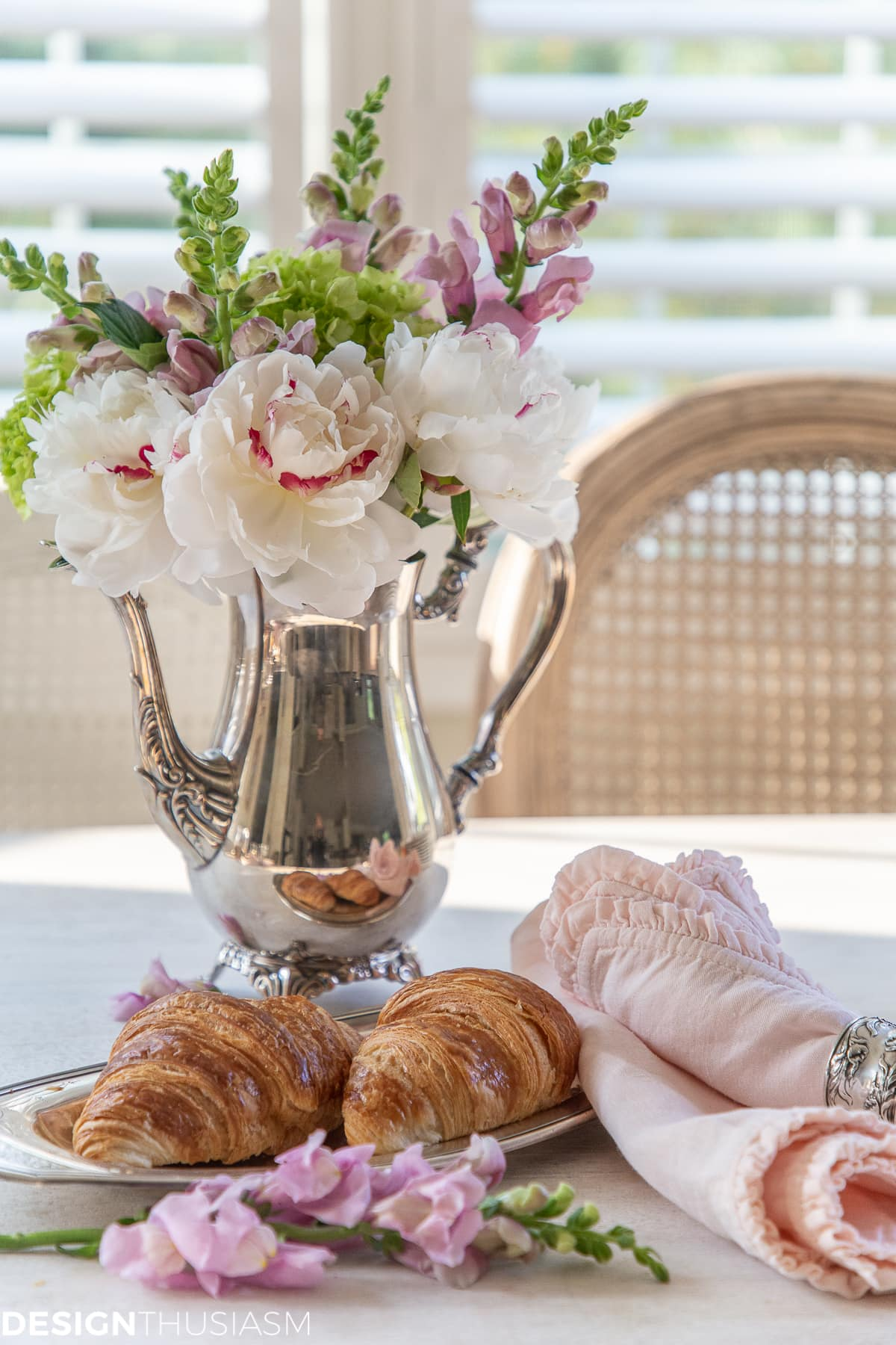 help yourself breakfast bar croissants and flowers
