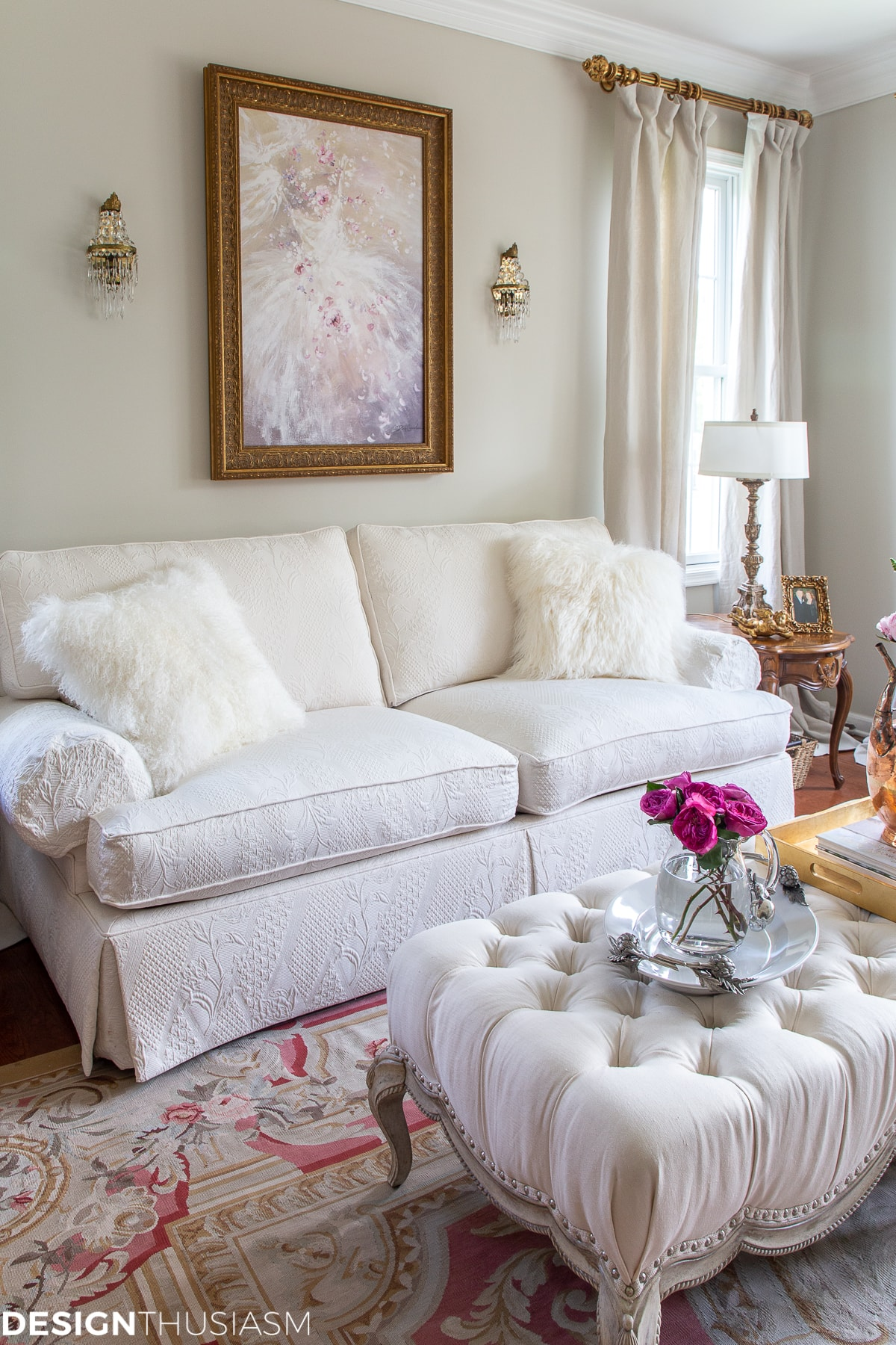 romantic white living room decor